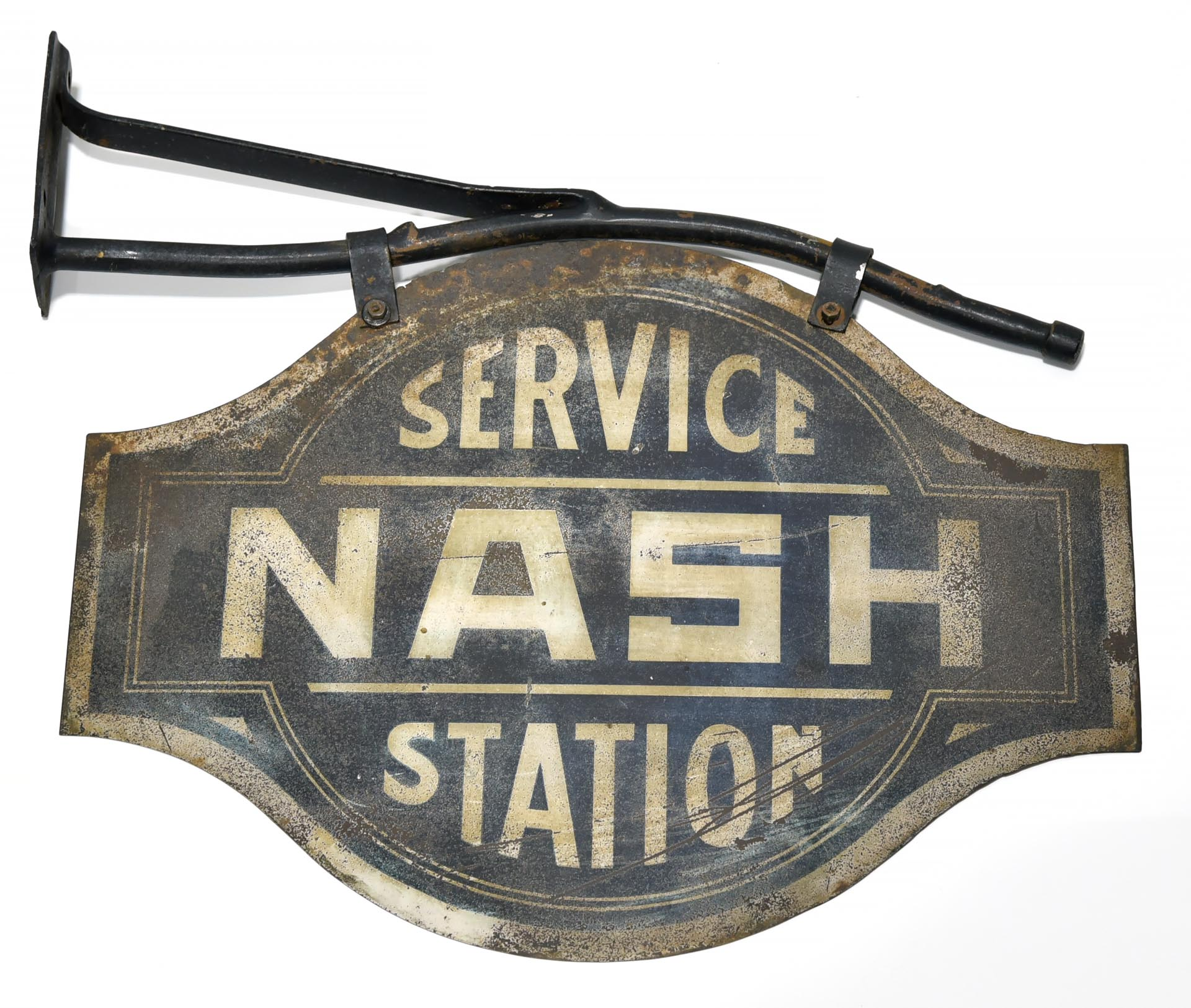 Early NASH Automobile Dealership Service Station Smaltz Flange Sign with Original Bracket