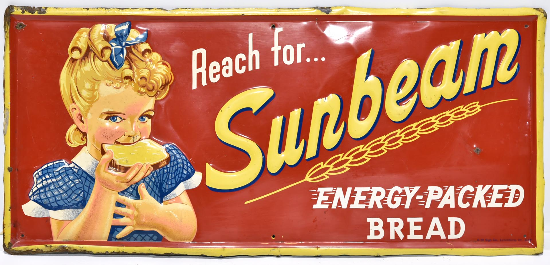 1954 Reach For Sunbeam Energy Packed Bread Embossed Tin Sign