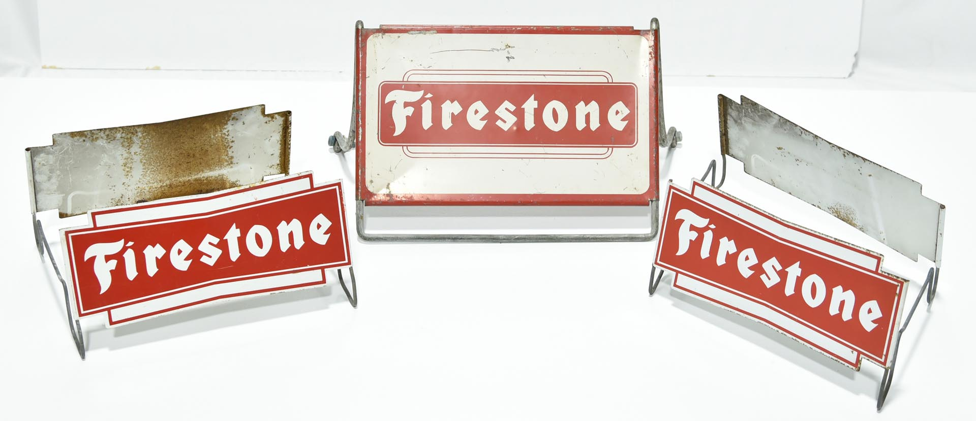 Lot of 3 Firestone Tire Display Signs: One Large Heavy Duty and 2 DS Complete Die Cut Signs