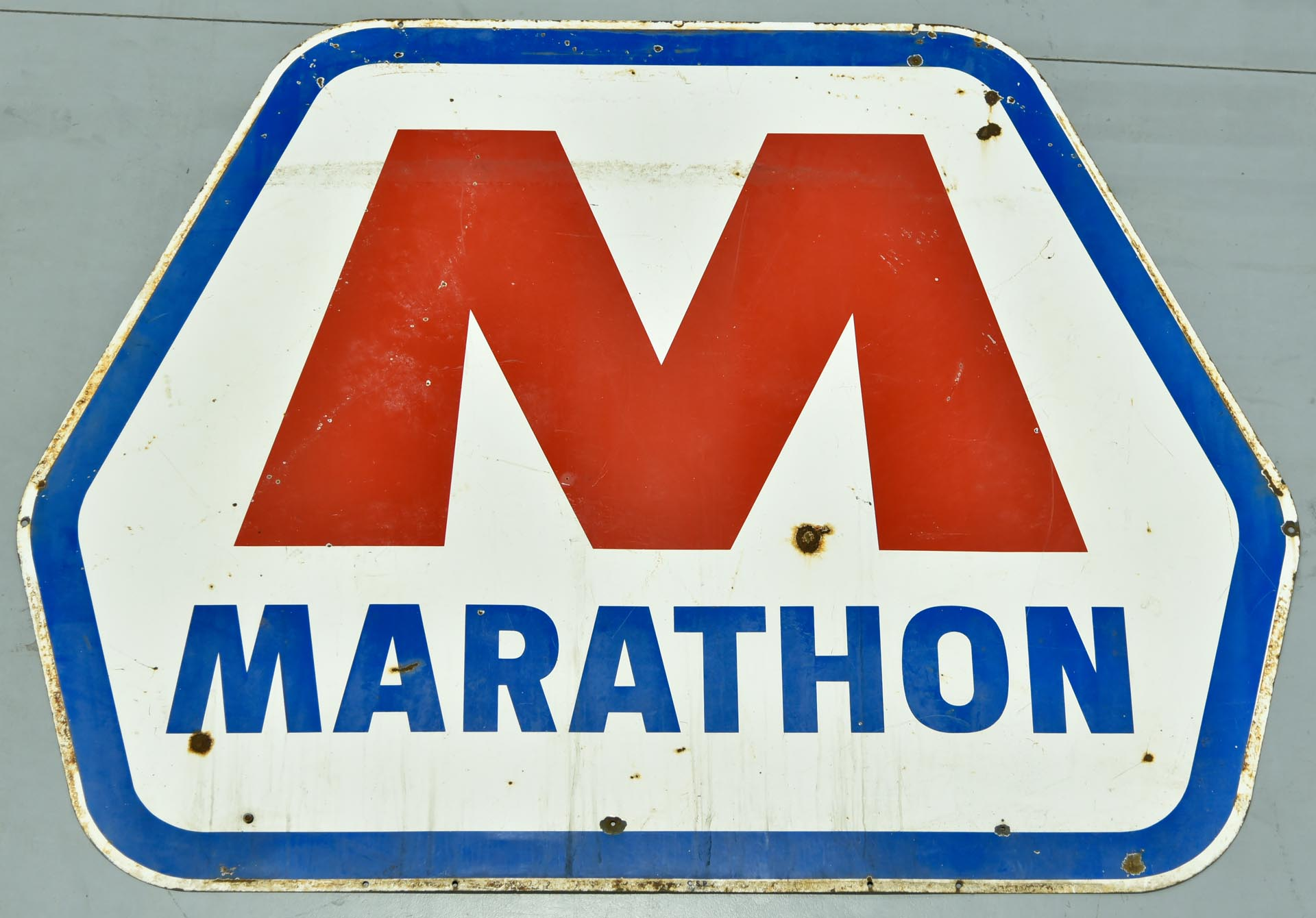 Large DSP Marathon Oil Porcelain Gas Station Sign