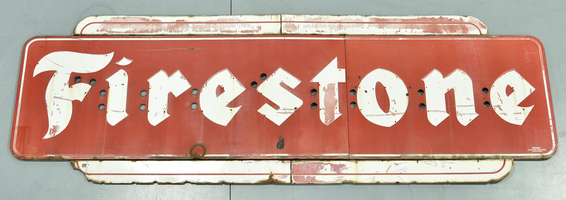Large Firestone Dealership Porcelain Neon Sign with Top and Bottom Trim Pieces