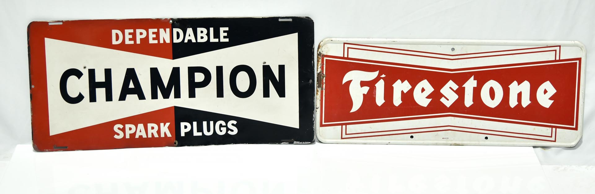 Lot of 2 Automobile Service Related Signs: Champion Spark Plugs & Firestone Tires