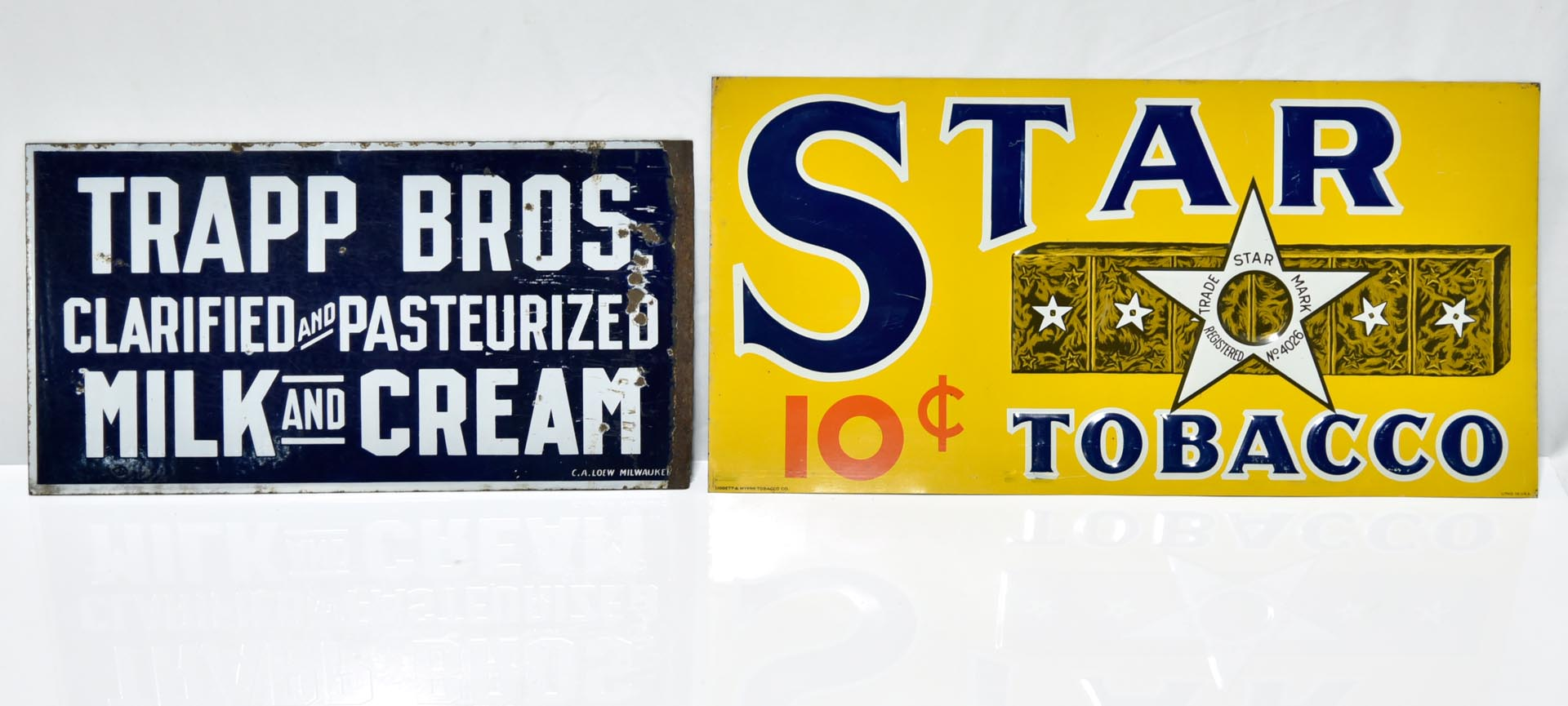 Lot of 2 Signs: TRAPP Bros DSP Porcelain Milk & Cream Dairy Sign & STAR Tobacco Embossed Tin Sign