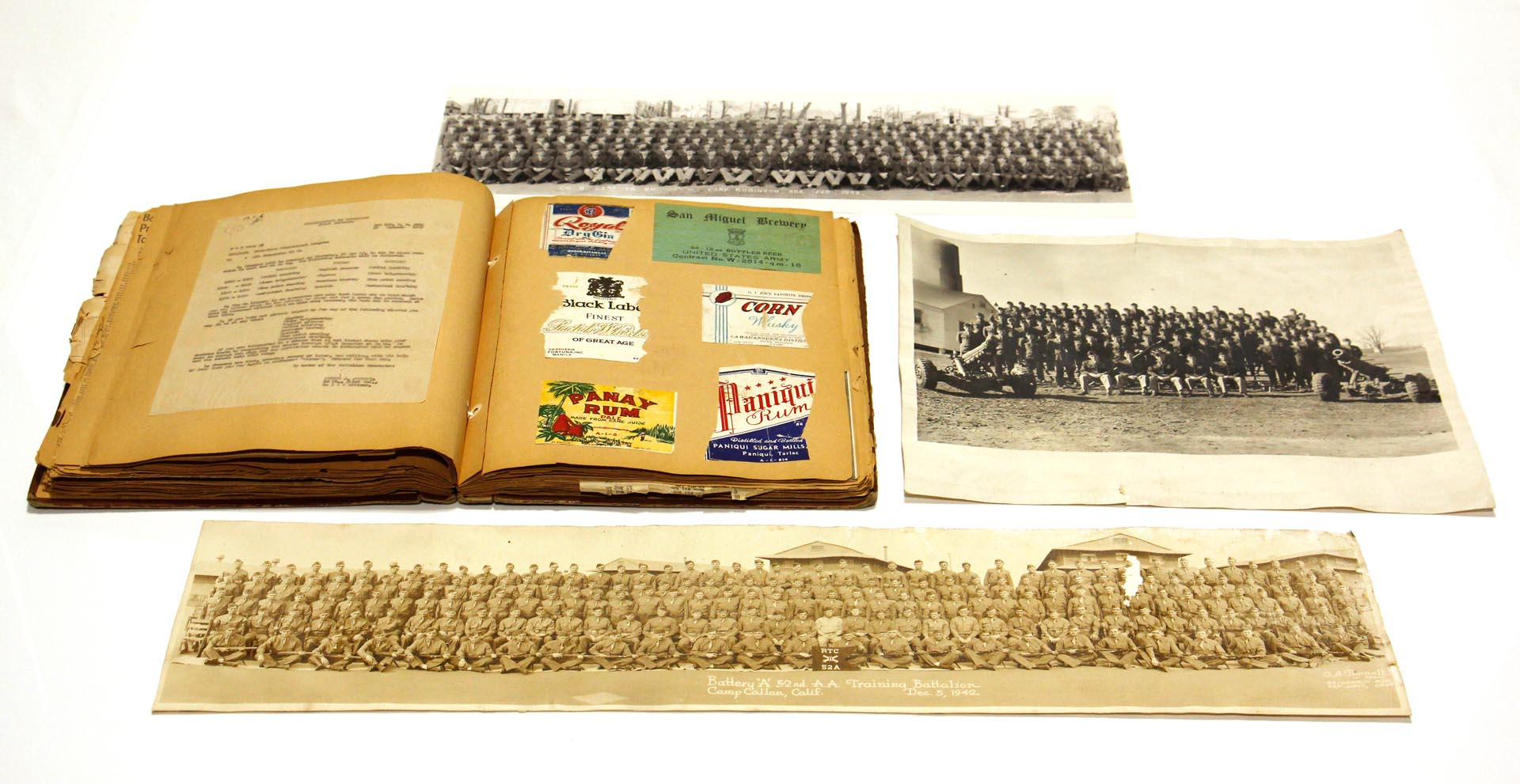 WWII U.S. Army Class Training Photographs and Military Scrapbook