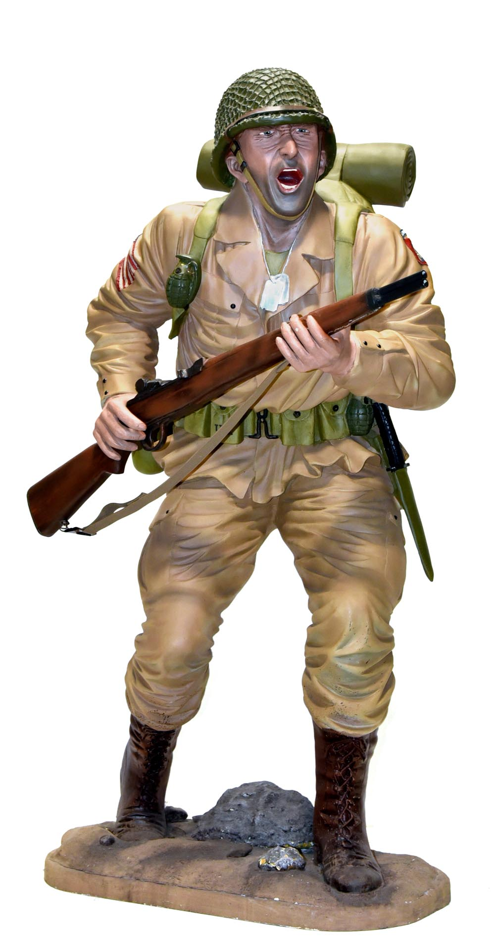 Larger Than Life Size Tan WWII U.S. Army Commemorative Soldier Polymer Statue