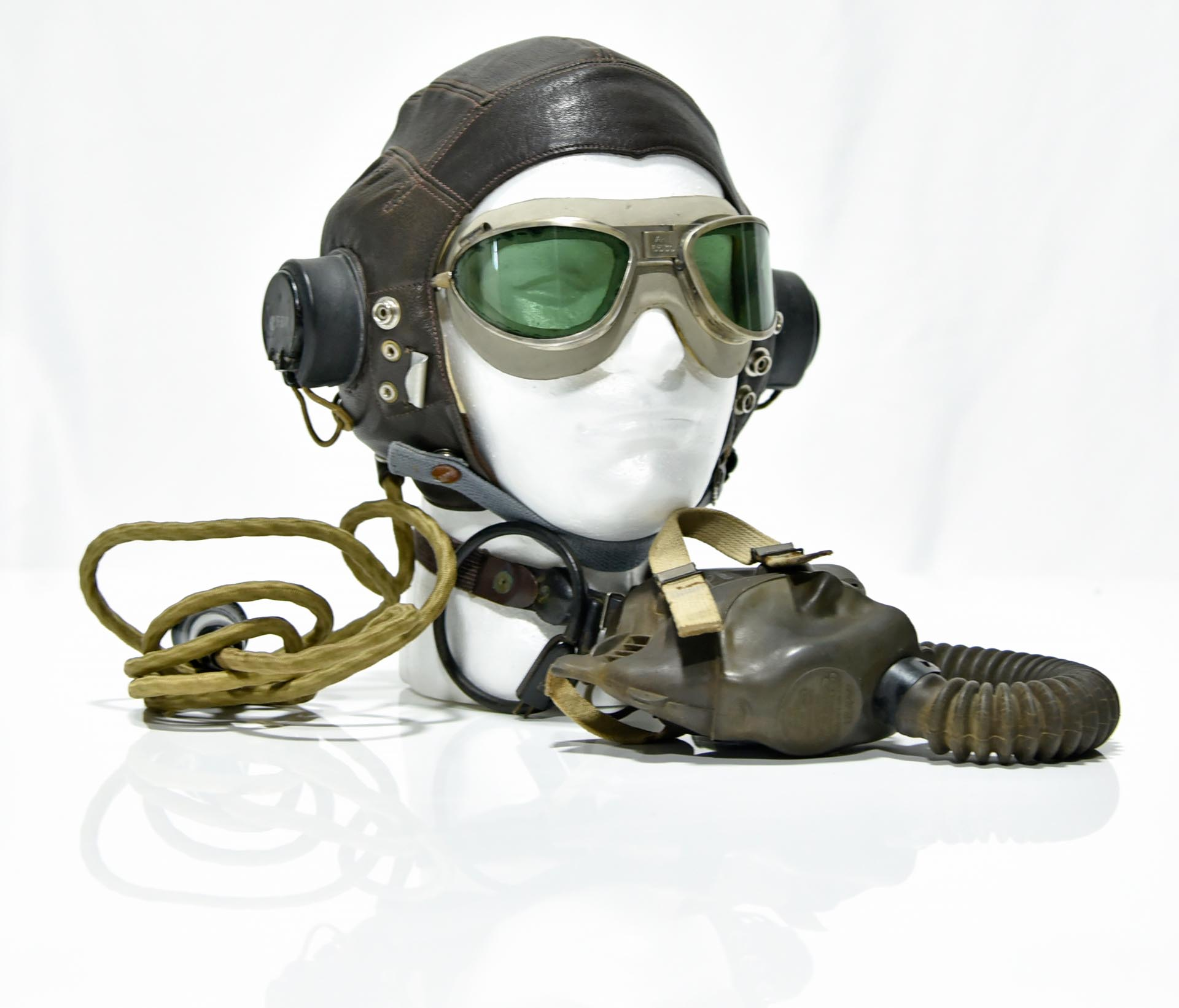 Collection Lot of WWII U.S. Army Air Force Leather Helmet with Headphones, Goggles and Oxygen Mask