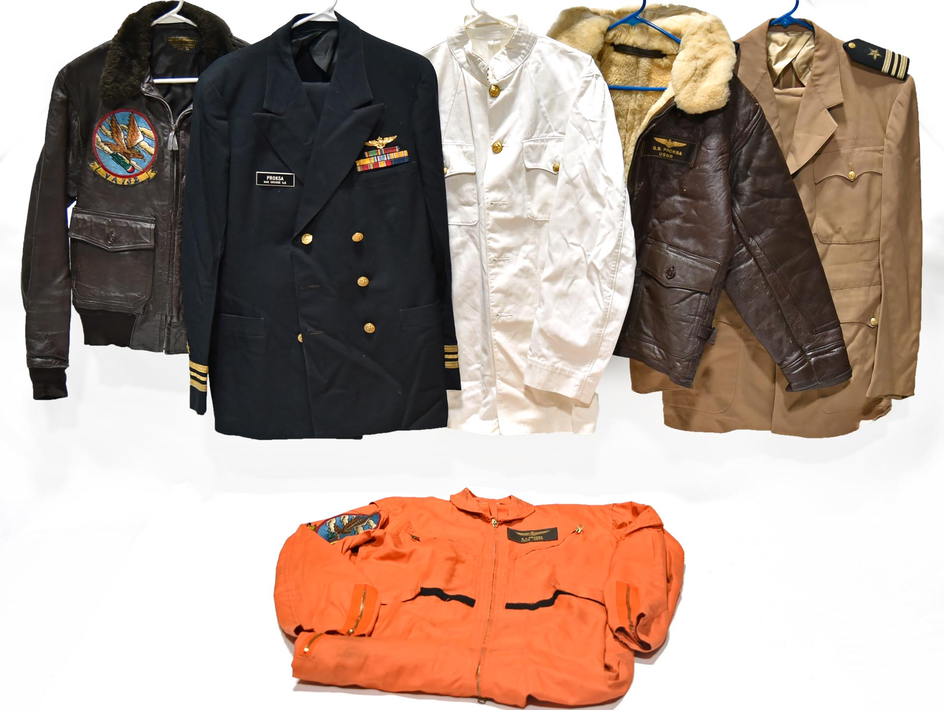 Collection Lot of Identified Named Cold War U.S. Navy Flight Apparel of Aviator E. J. Proks