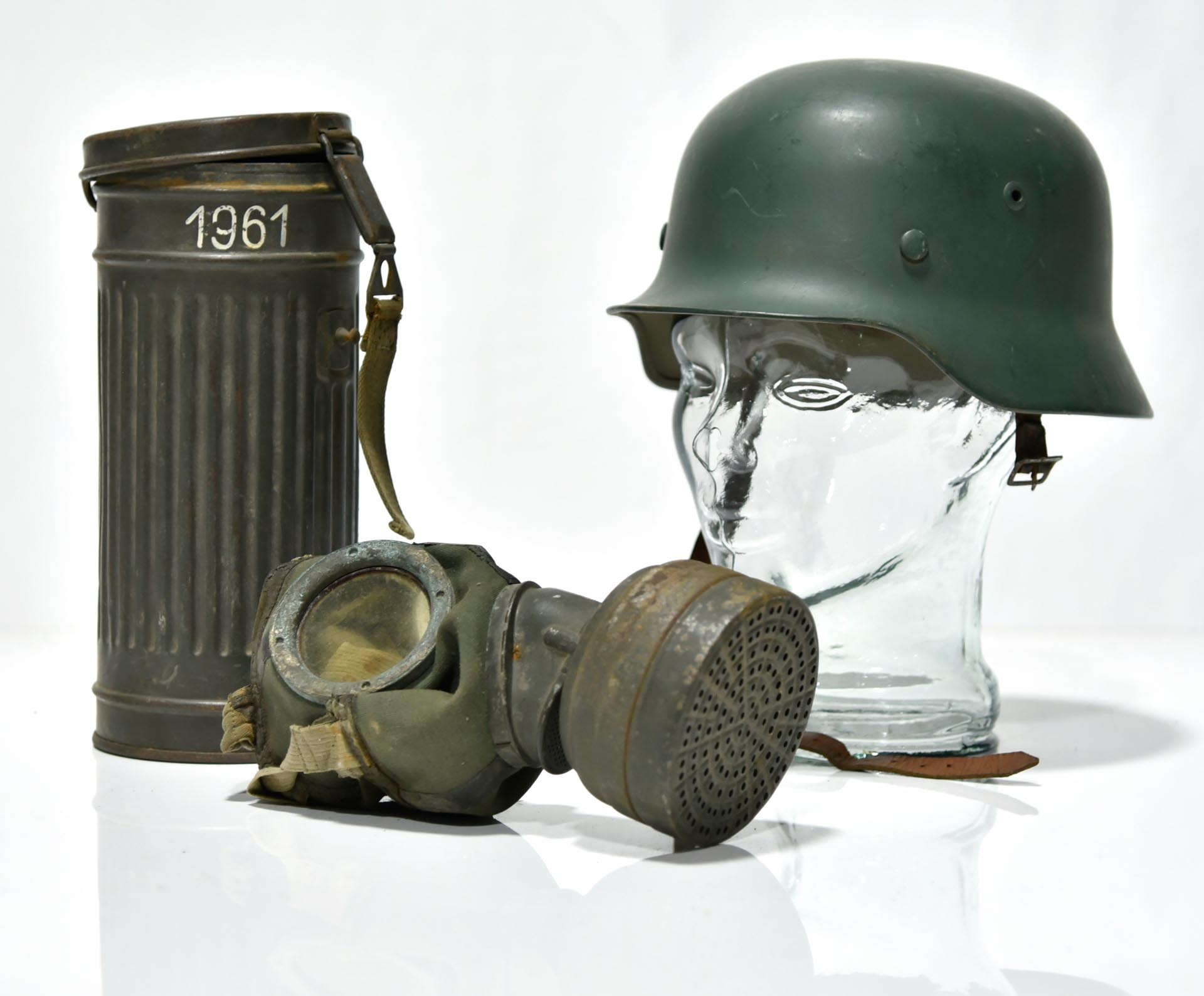 WWII German Army Helmet with Gas Mask and Canister