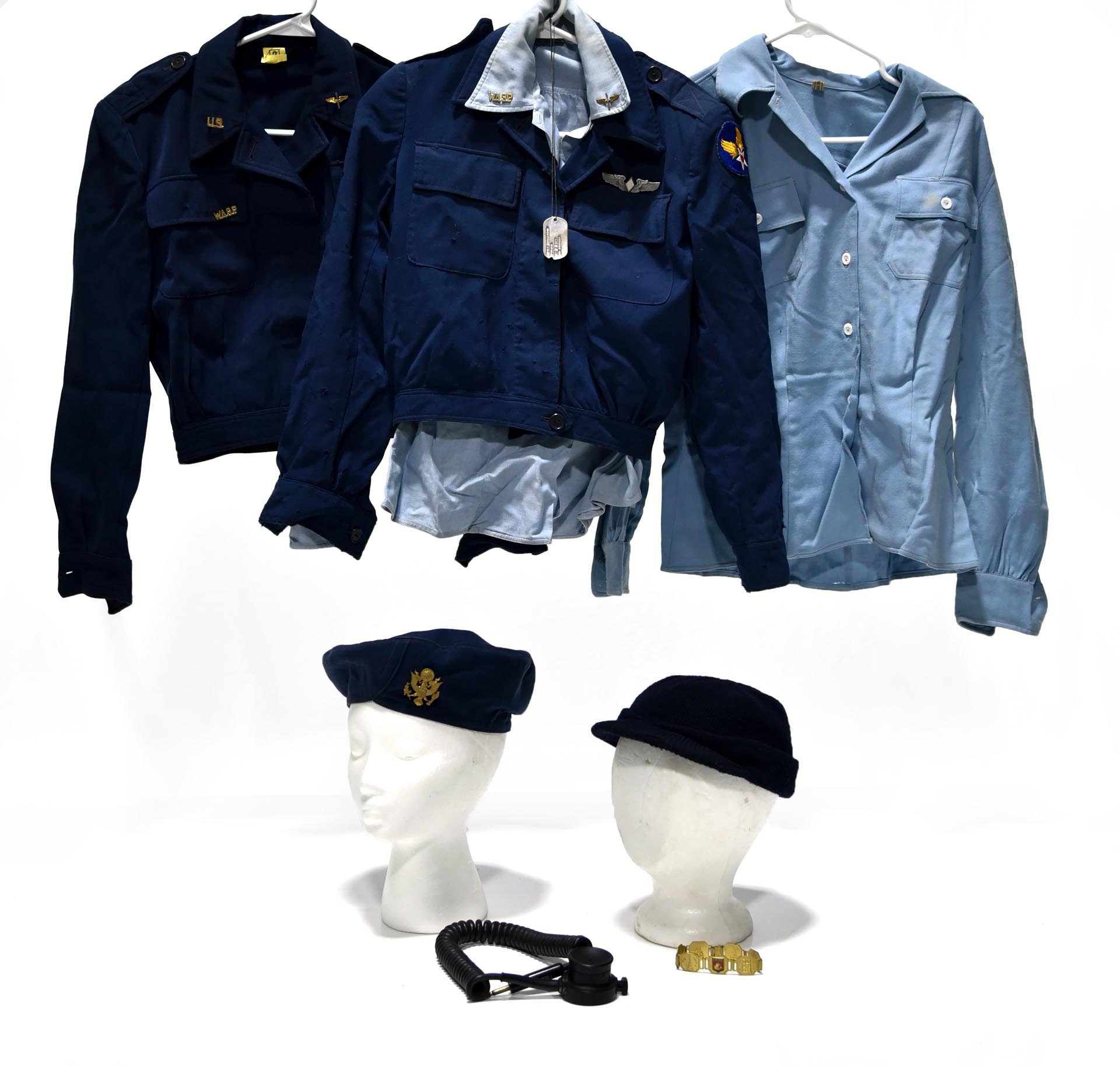Lot of Women Airforce Service Pilots Pair of Jackets with Shirts, Caps, Microphone and Bracelet
