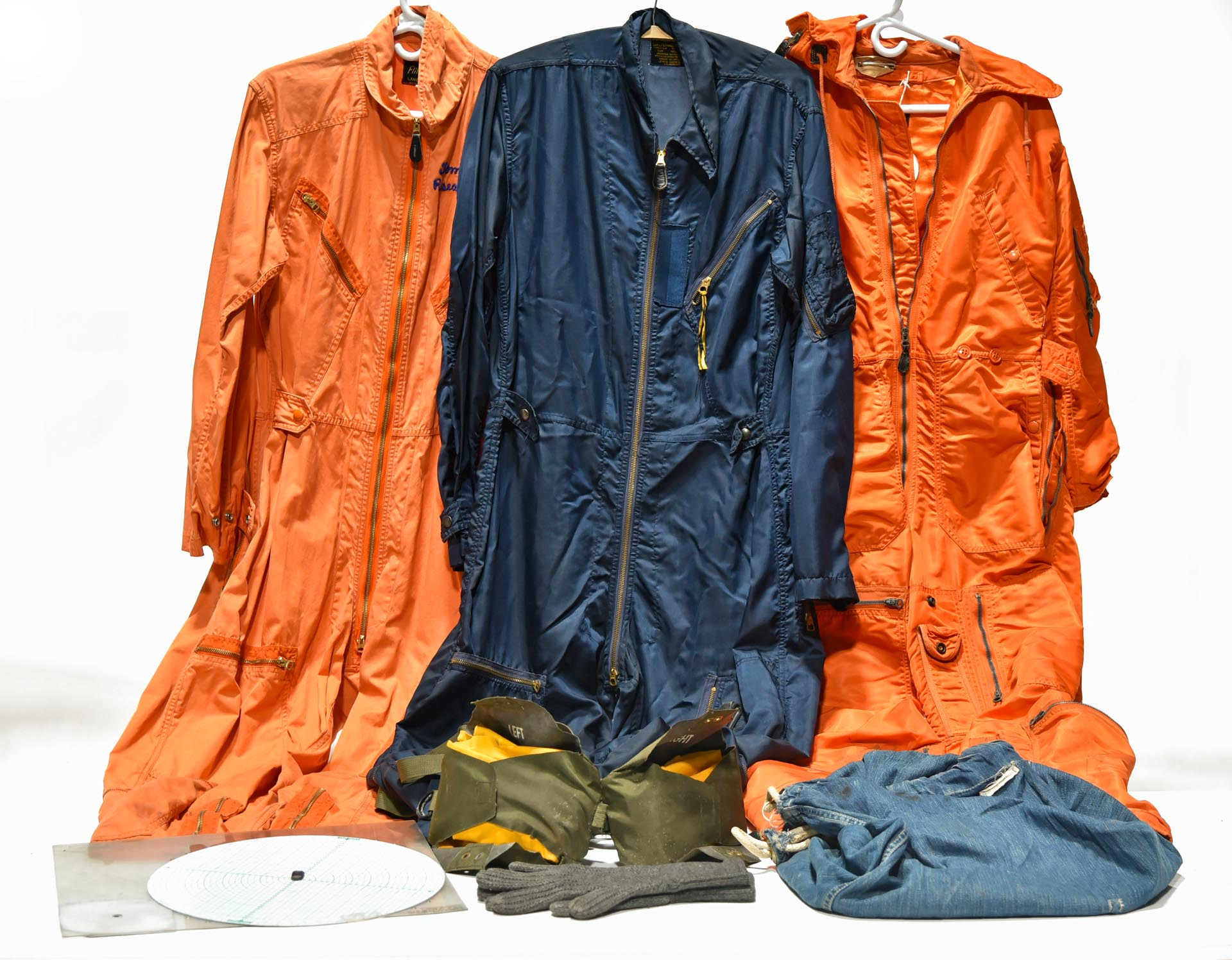 Lot of Cold War U.S. Military Flight Suits, Navigation Plotting Board and Denim Work Clothes