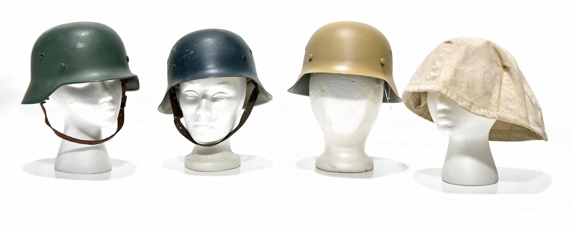 Collection Lot of 3 WWII German Military Helmets and Winter Camouflage Helmet Cover
