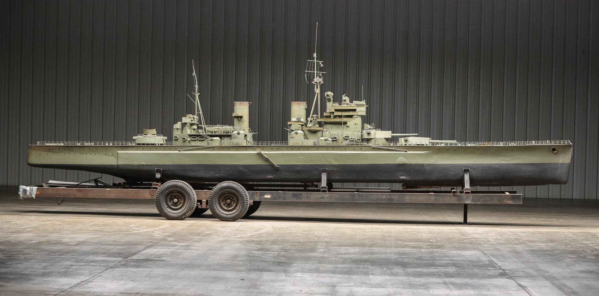 Prince Of Wales British Navy Battleship Movie Prop with Custom Tandem Axle Trailer