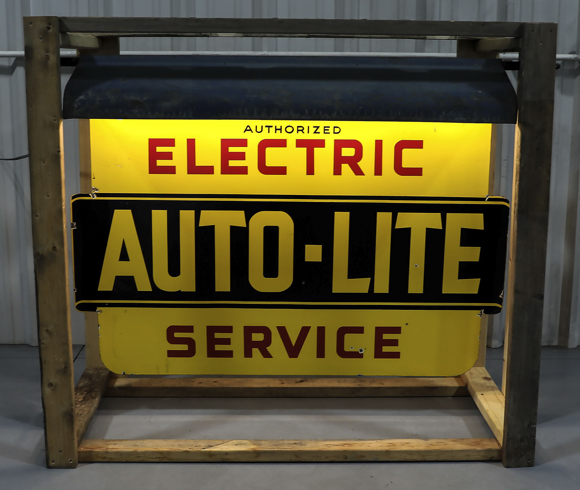 Auto-Lite Porcelain Lighted Service Sign with Hood