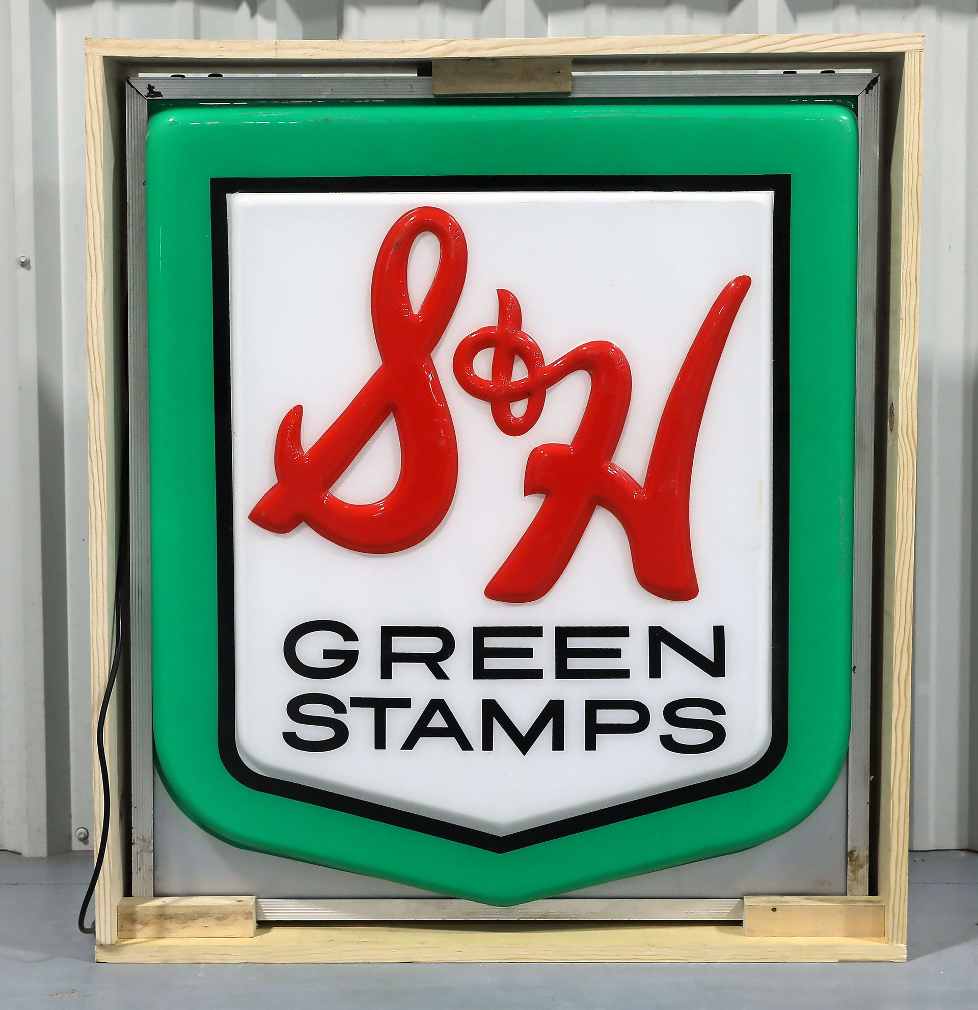 S & H Green Stamps Lighted DS Plastic Sign