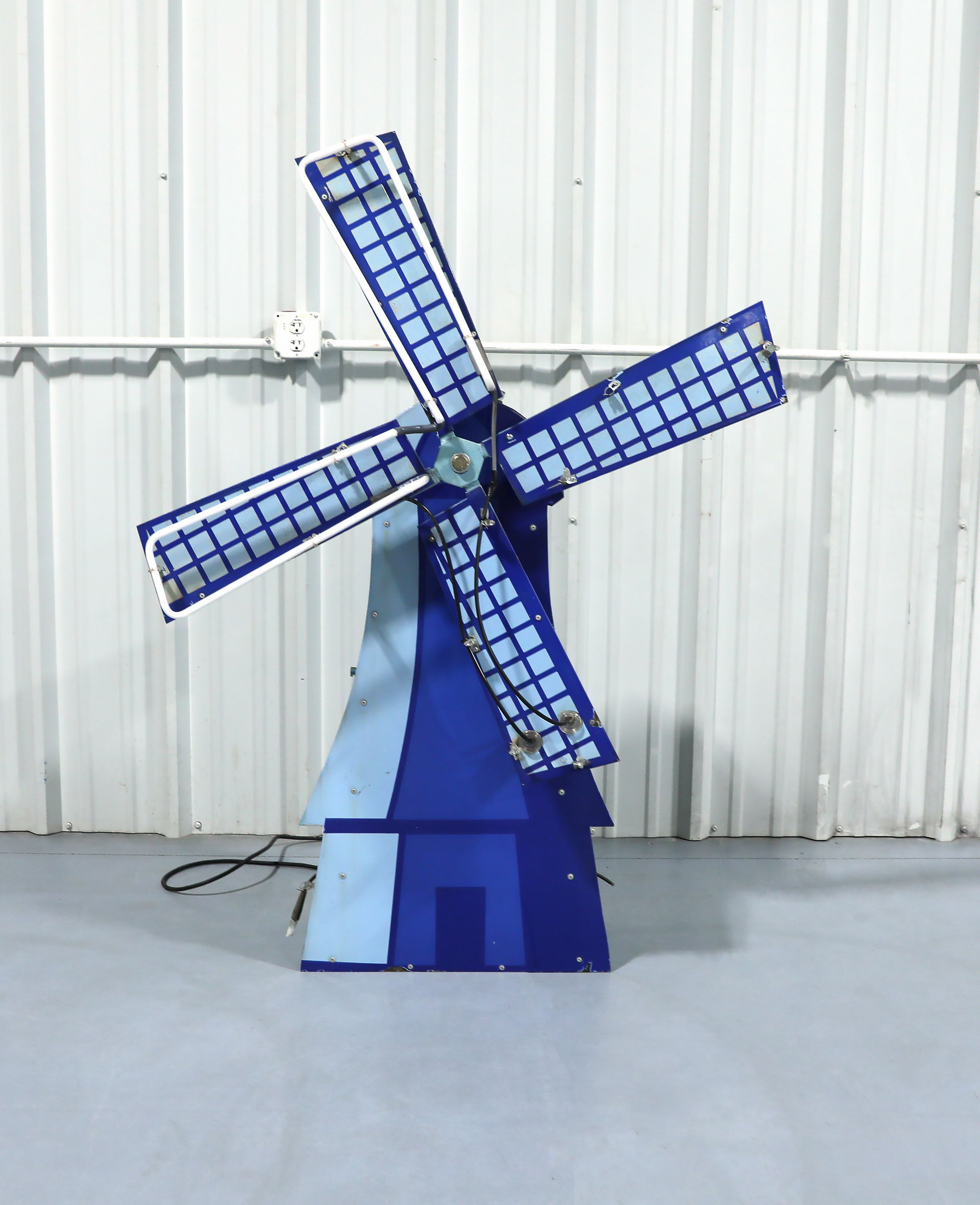 Dutch Windmill Motorized Porcelain Lighted Neon Can Sign