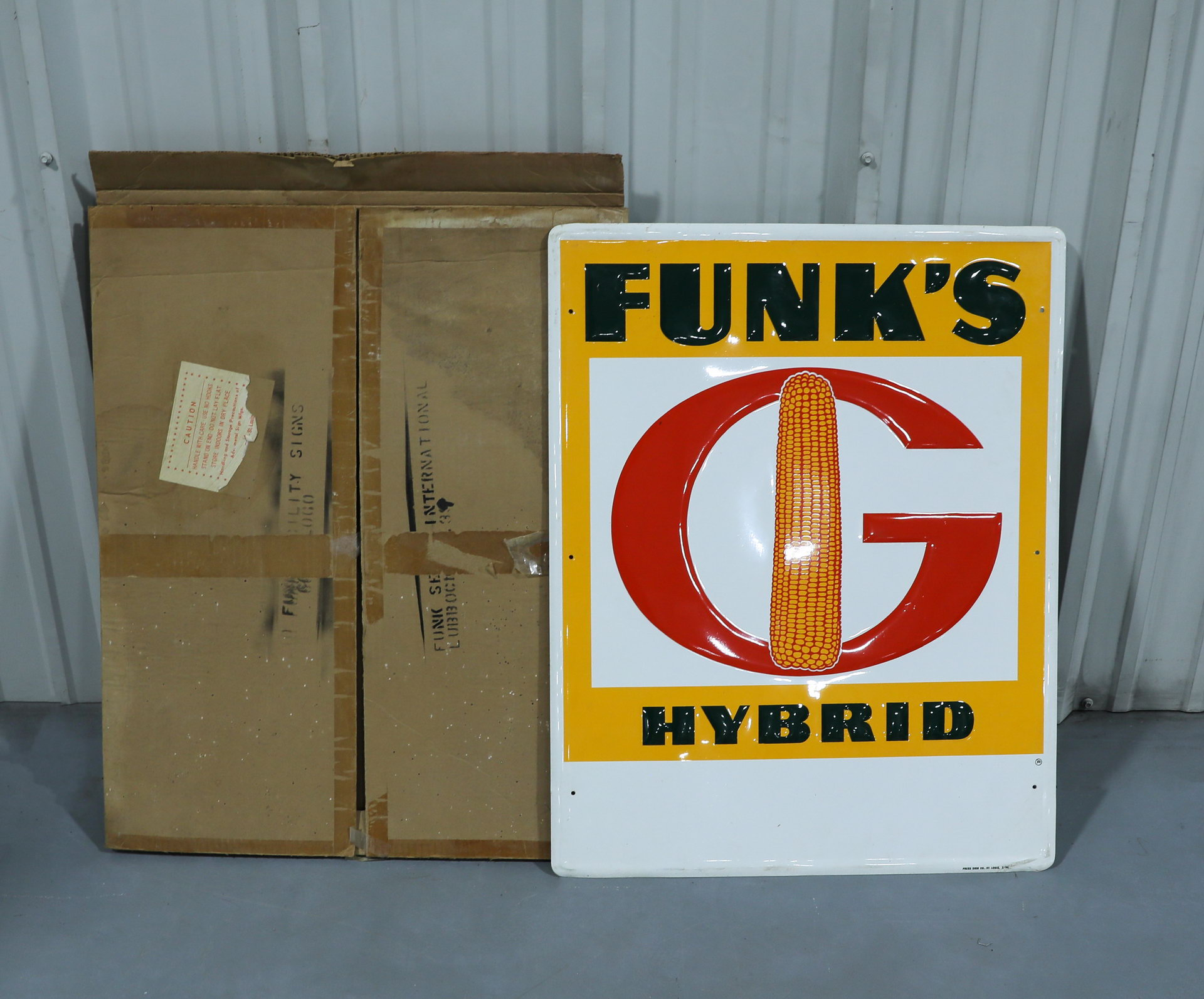 Funk's Hybrid Tin Advertising Sign with Original Box