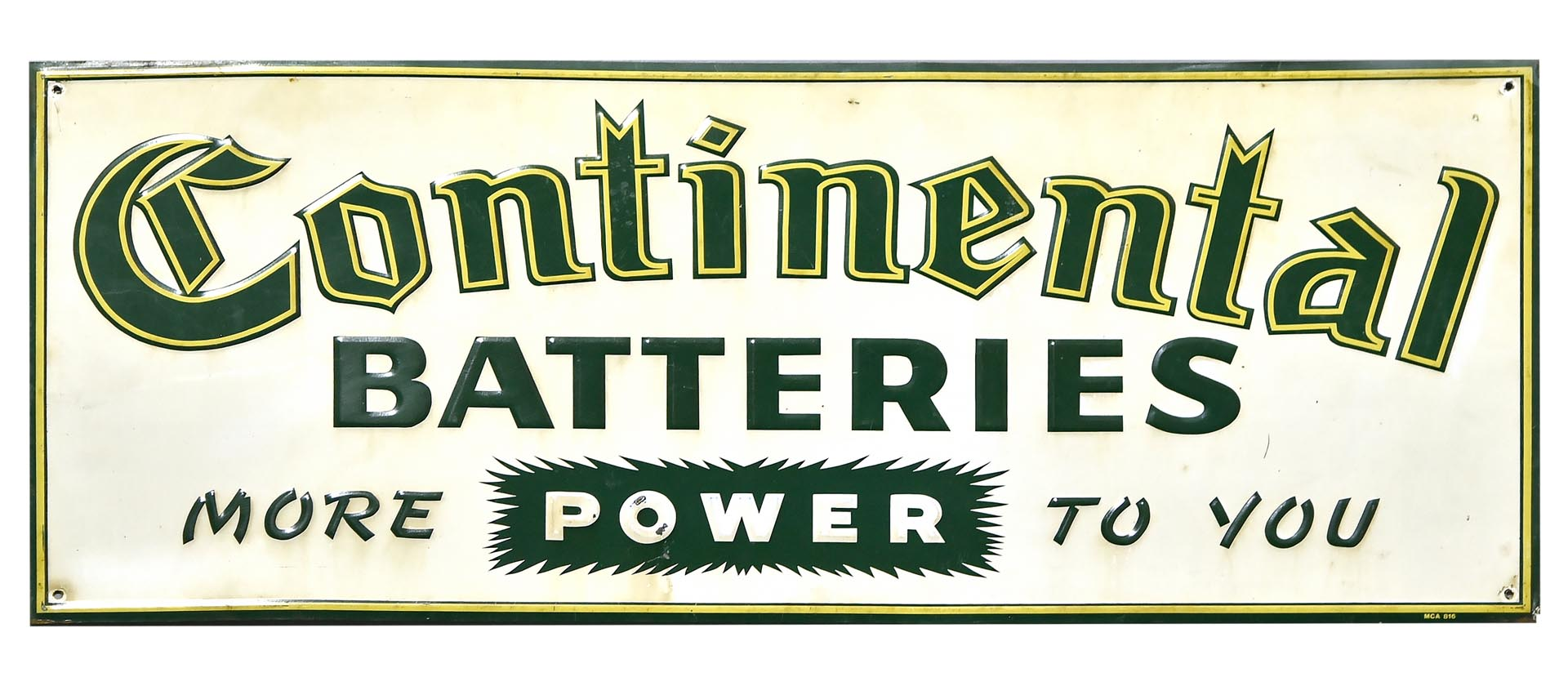 Continental Batteries Embossed Tin Advertising Sign
