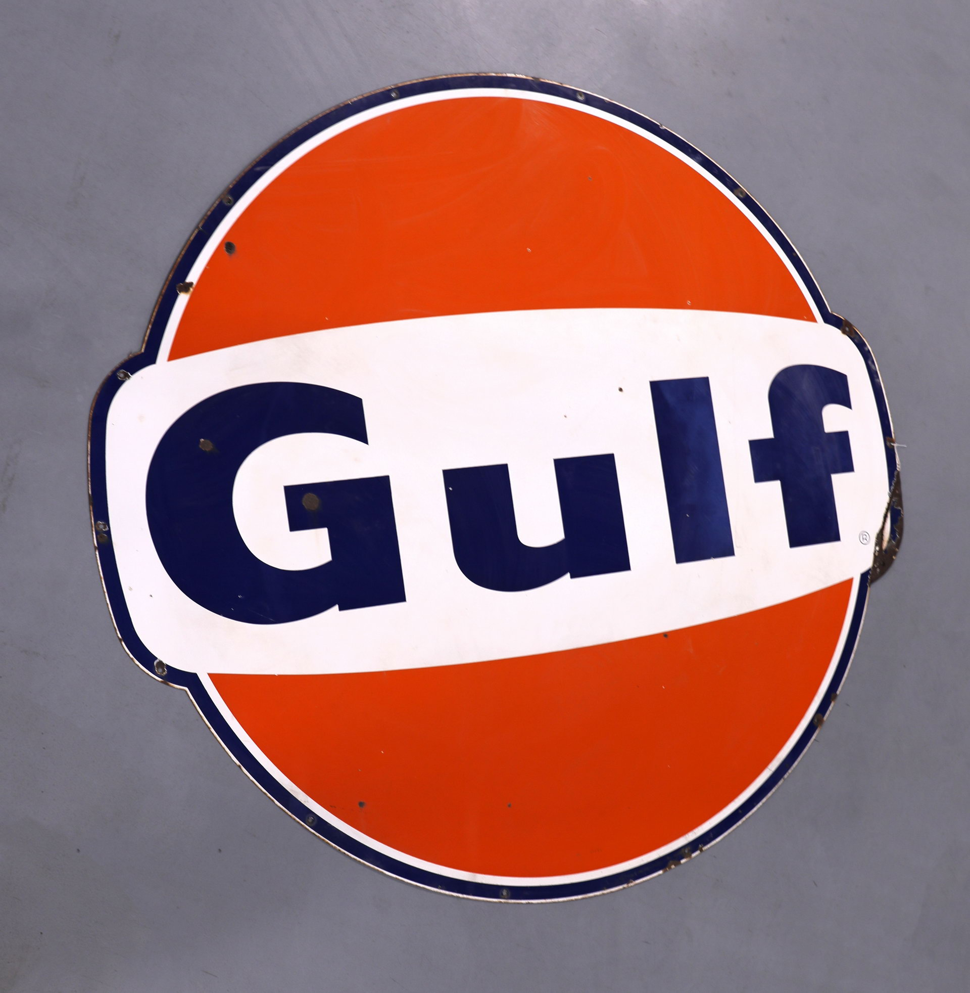 Gulf Oil SSP Porcelain Gas Station Sign with Dog Ears