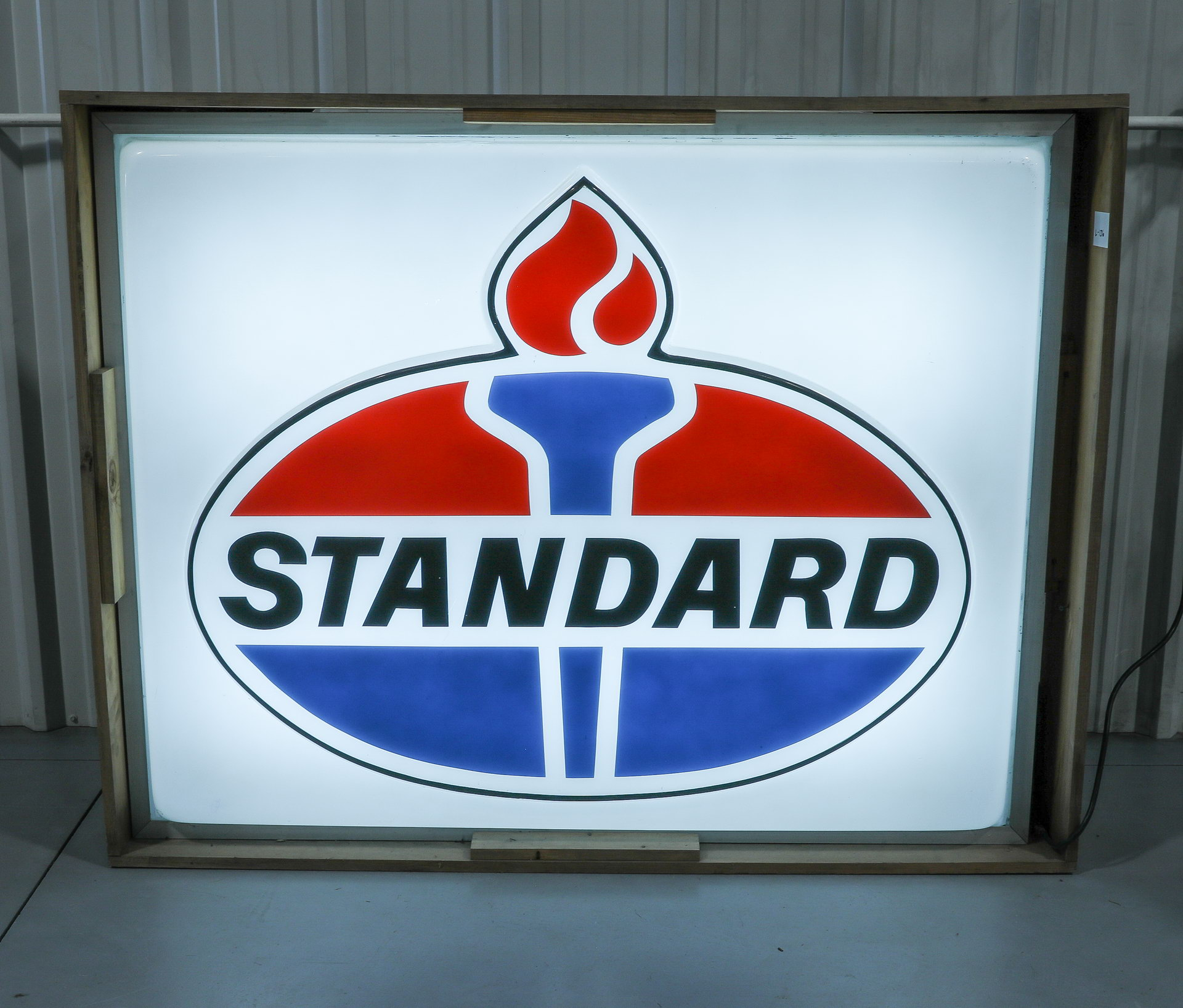Standard Oil Lighted Plastic Gas Station Can Sign