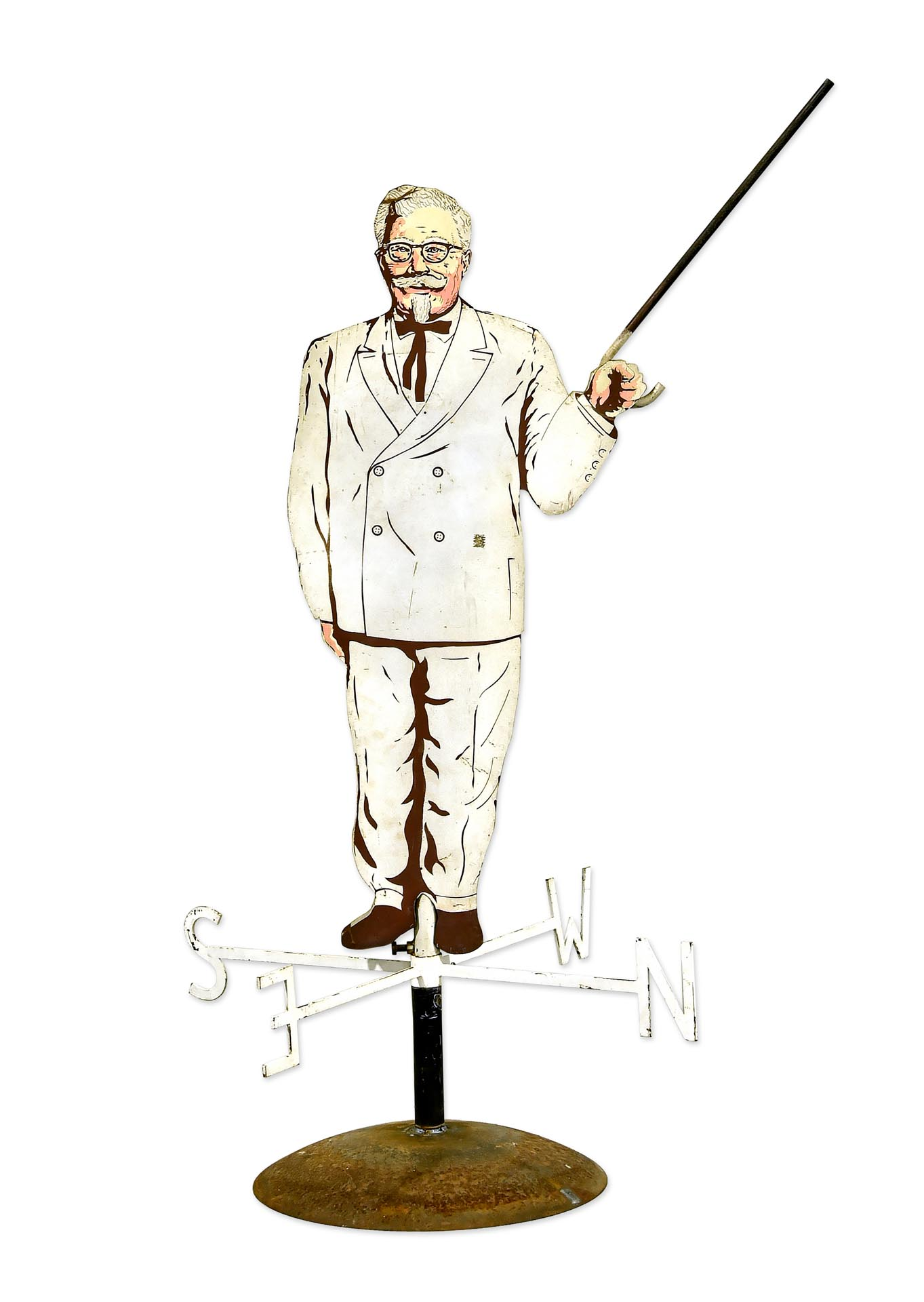 Colonel Sanders KFC Weathervane DS Metal Advertising Sign with Base