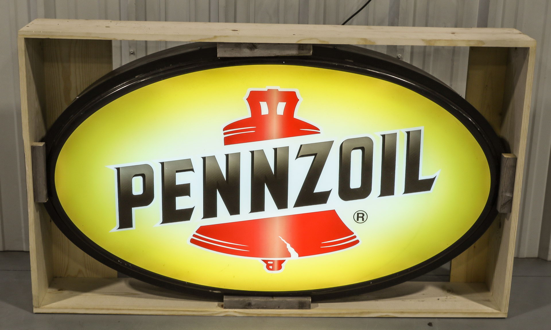 Pennzoil Lighted Plastic Advertising Can Sign