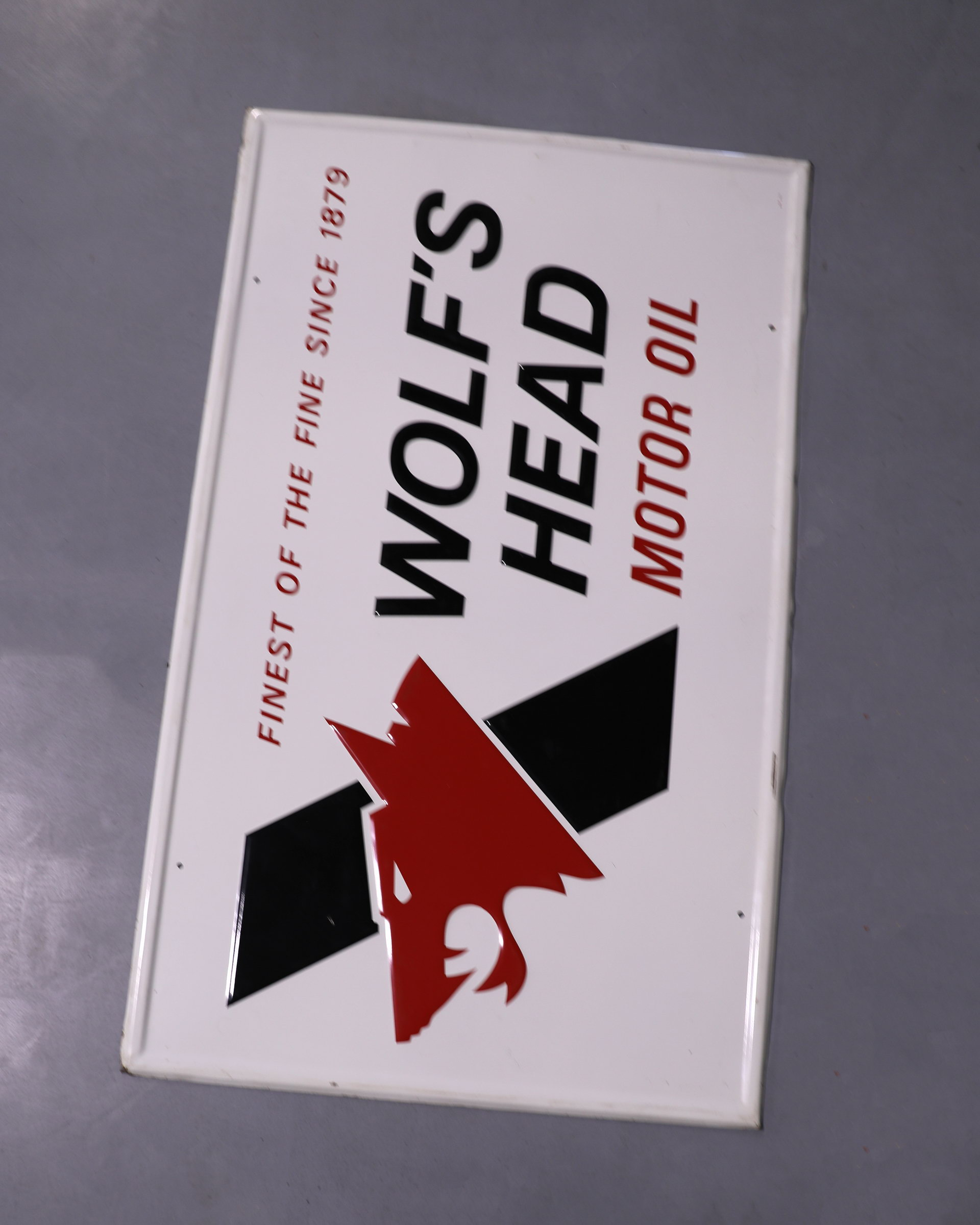 Wolf's Head Motor Oil Tin Advertising Sign