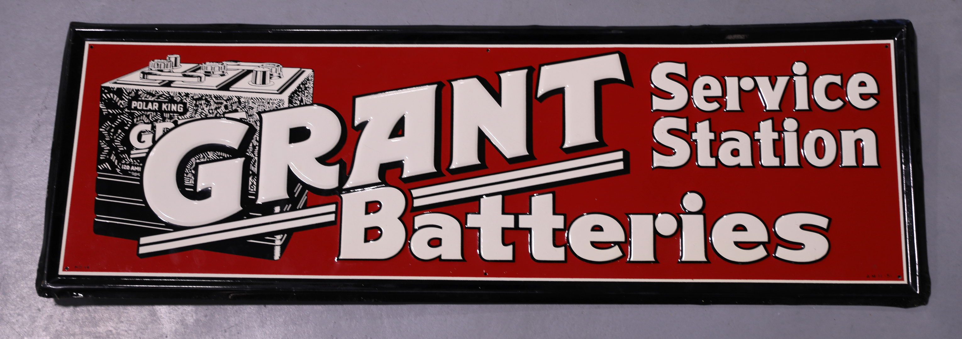 Grant Service Station Batteries Embossed Tin Sign