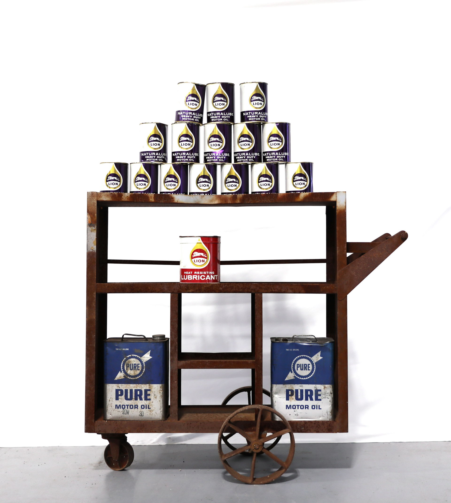 Rolling Metal Oil Can Rack Display with LION Oil Cans