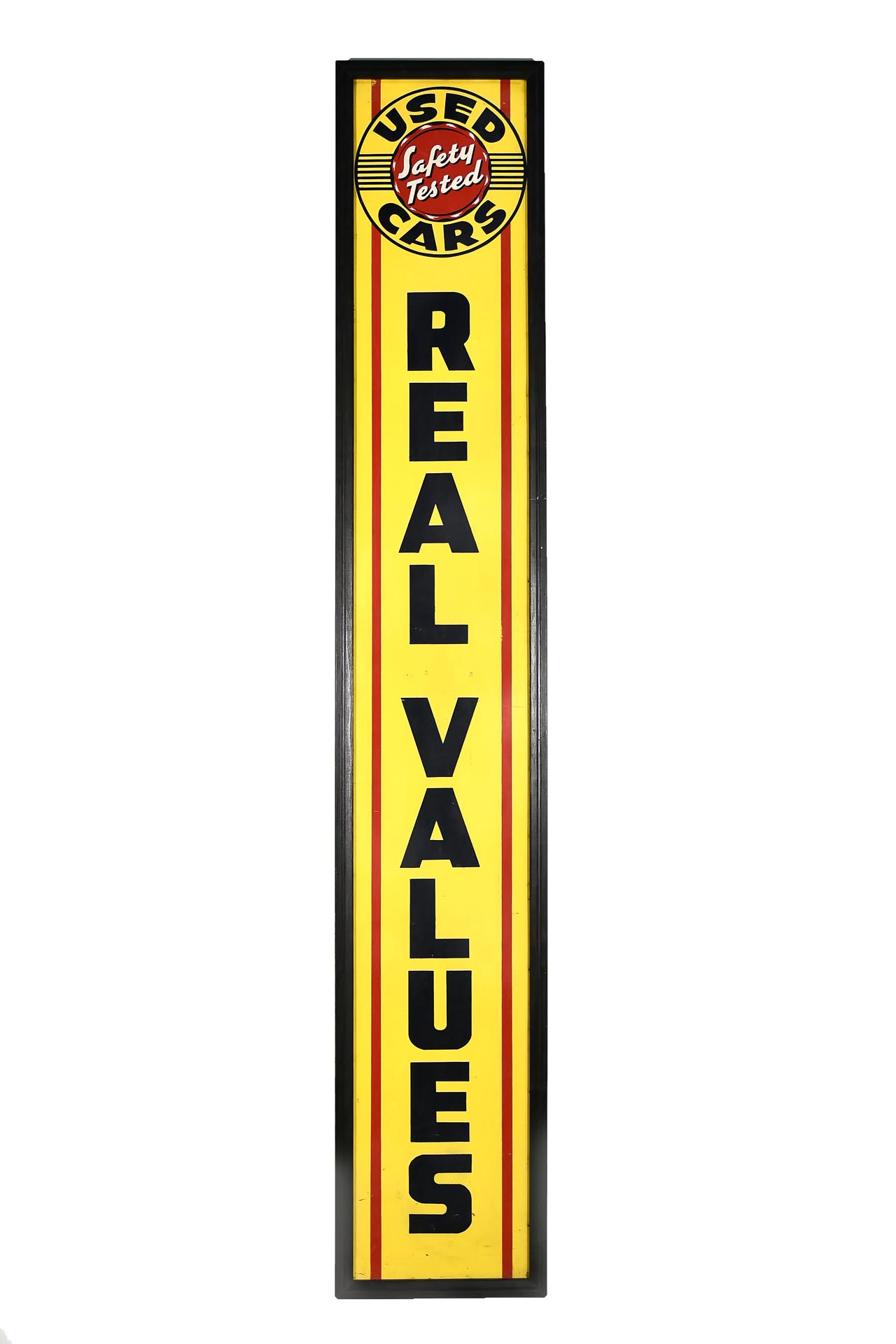 Real Values Used Cars Framed Vertical Automotive Sign