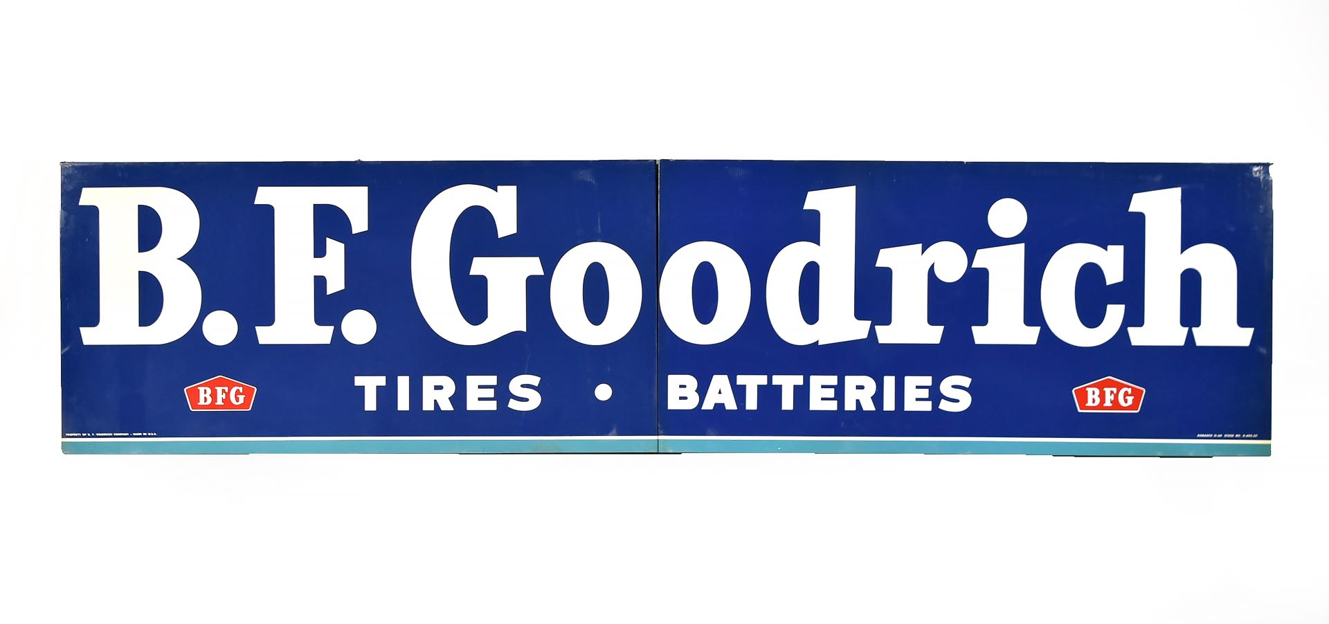 Large BF Goodrich Tire 2-Piece Metal Advertising Sign