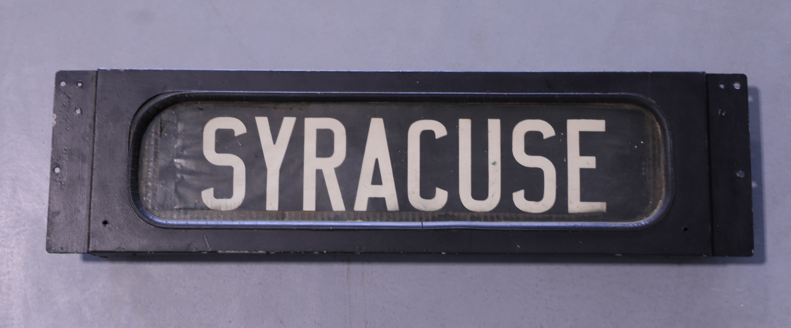 Syracuse Trolly Train Glass and Metal Advertising Sign