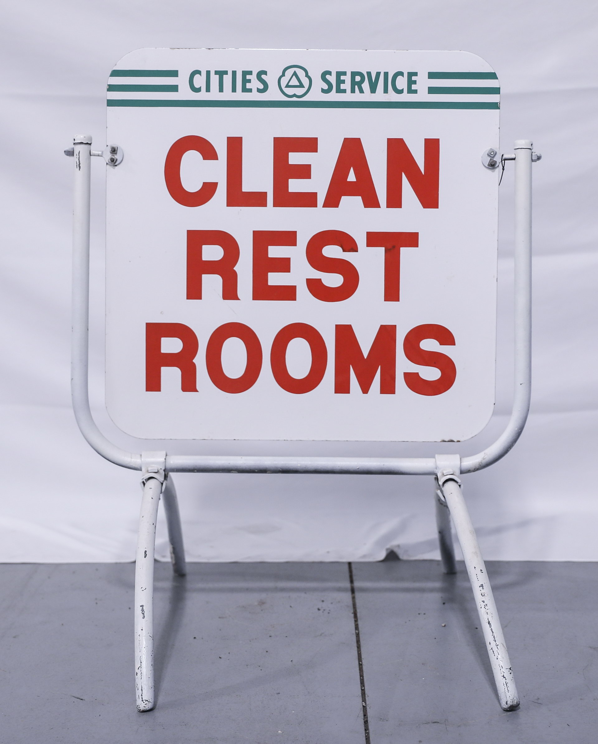 Cities Service Clean Restrooms DS Porcelain Curb Sign