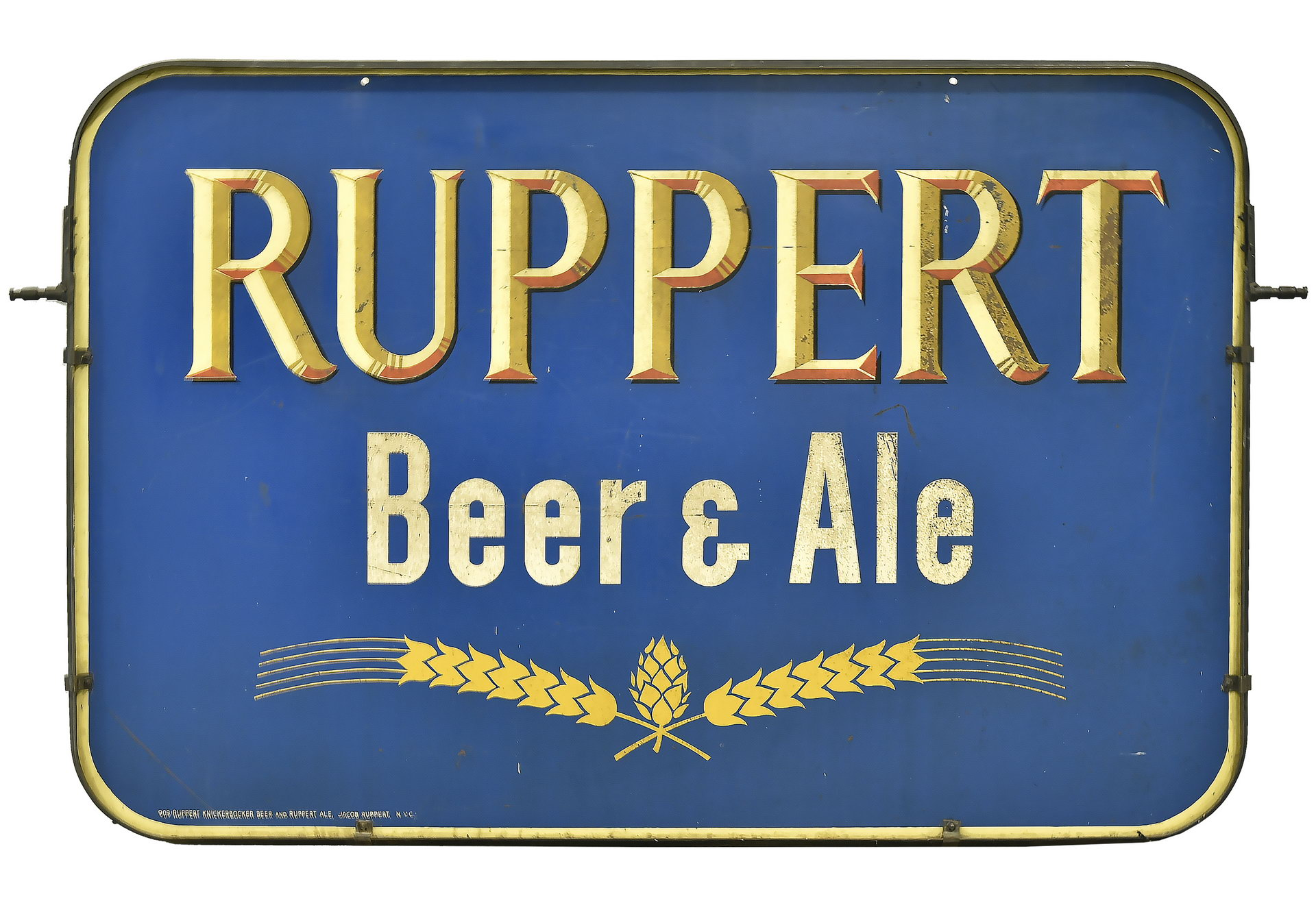 Large RUPPERT Beer & Ale NY Yankee DS Metal Sign with Hanger Frame