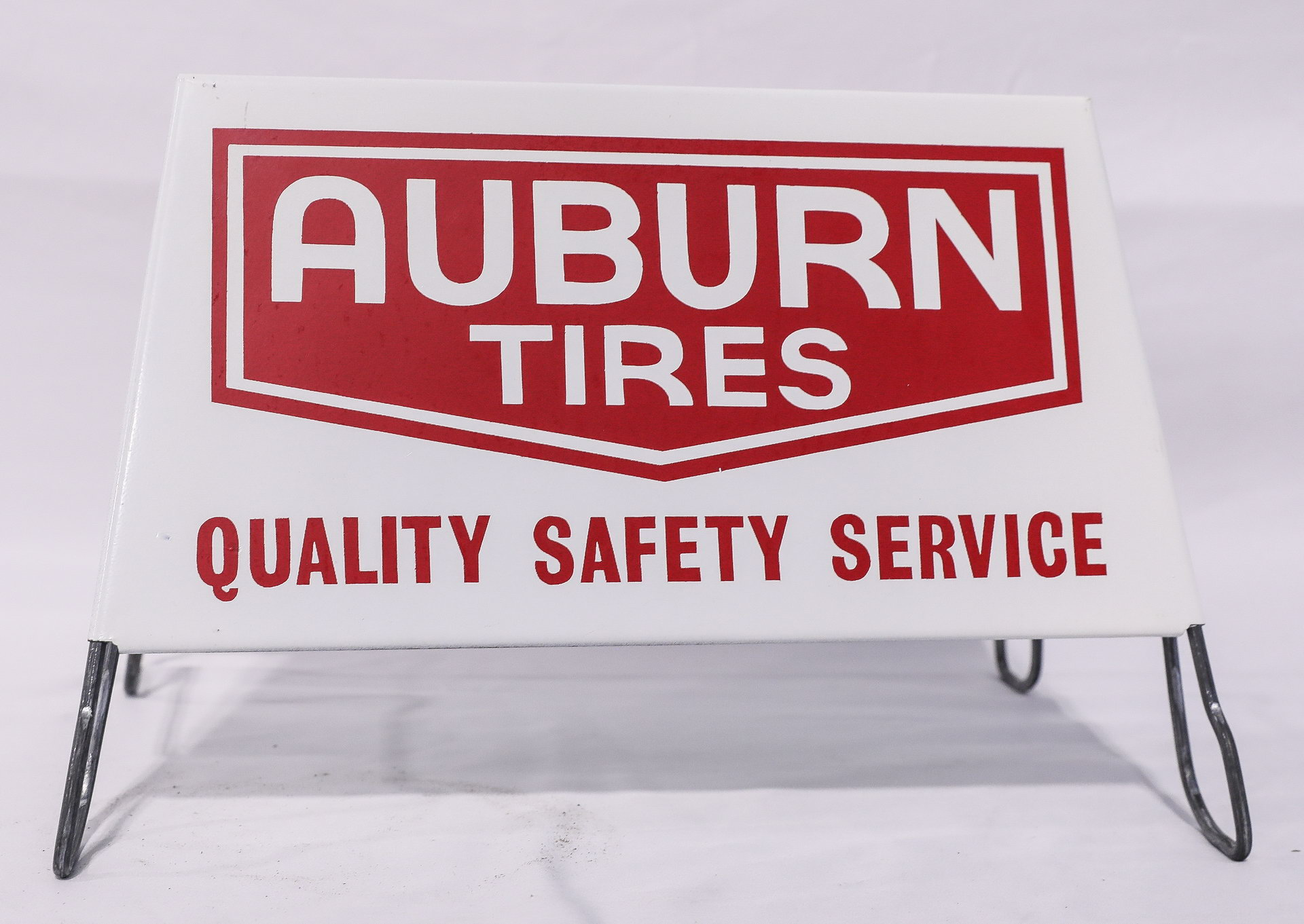 NOS Auburn Tires DS Display Rack Sign