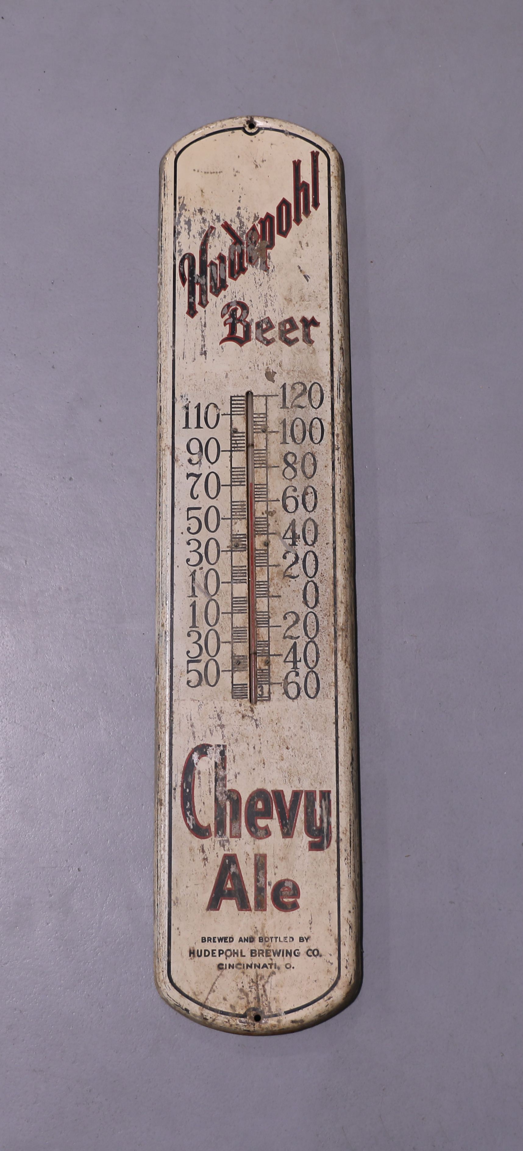 Hudepohl Beer Chevy Ale Cinncinnati, OH Thermometer Sign