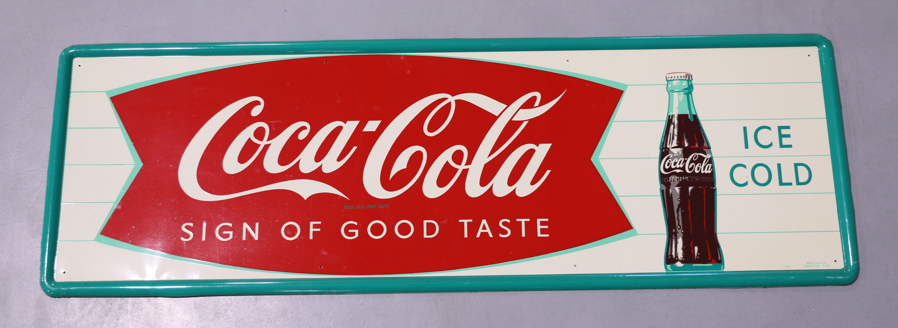 Coca-Cola Fishtail Tin Advertising Sign