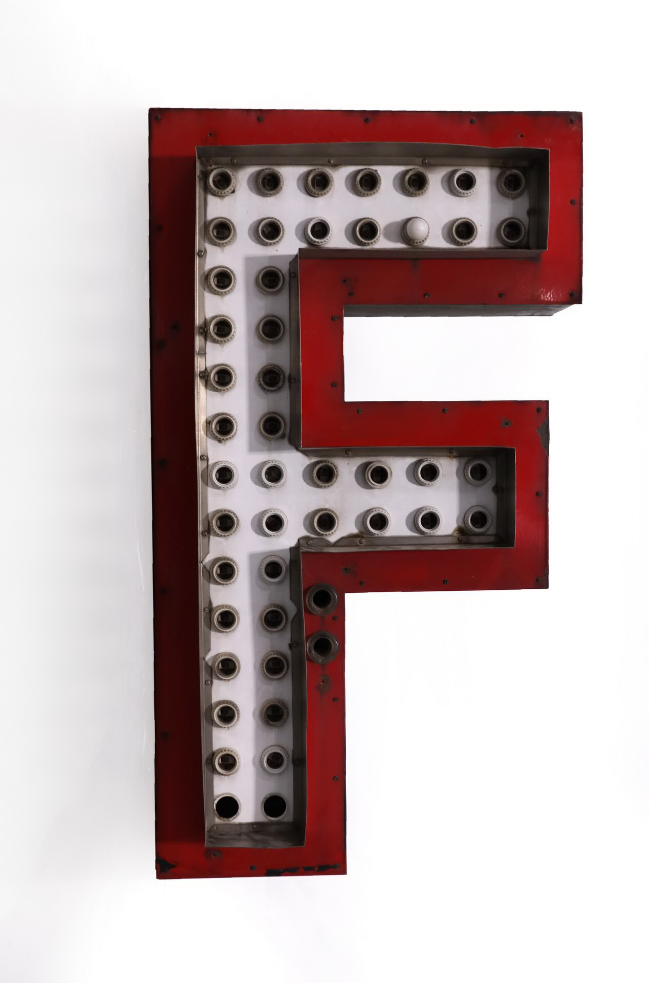 Large Letter F Lighted Advertising Can Sign