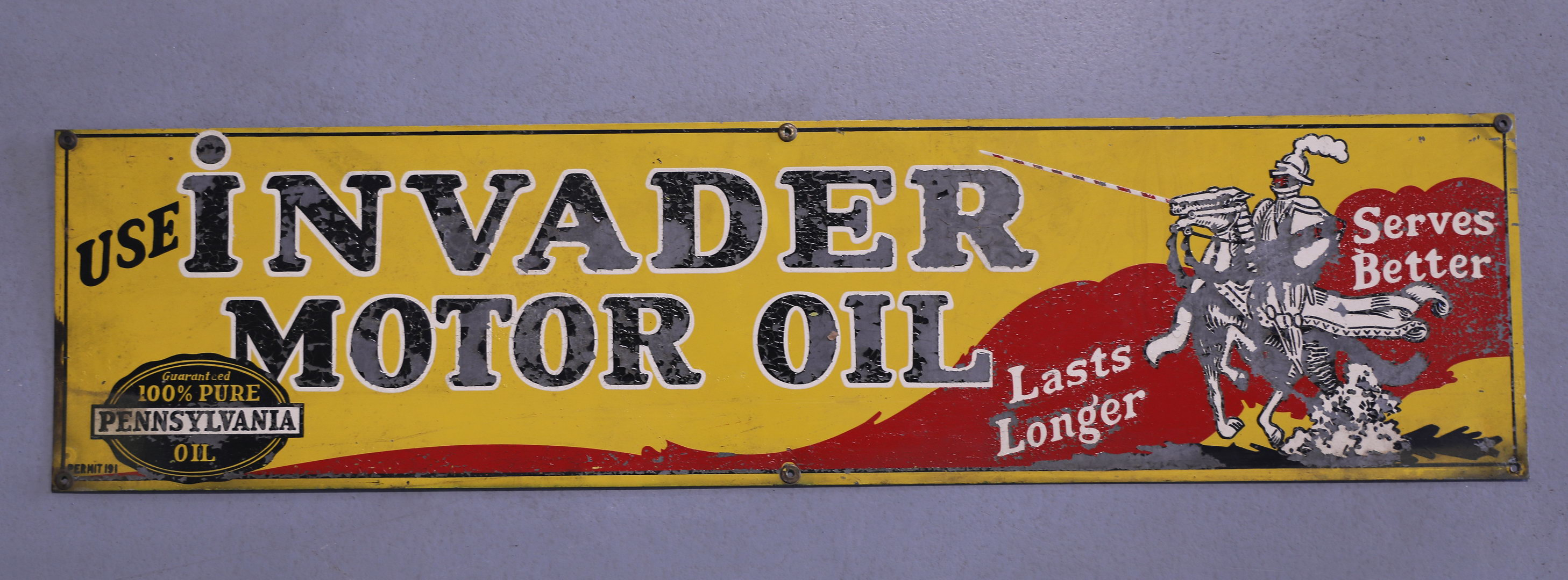 Invader Motor Oil Pennsylvania Oil Thick Tin Sign