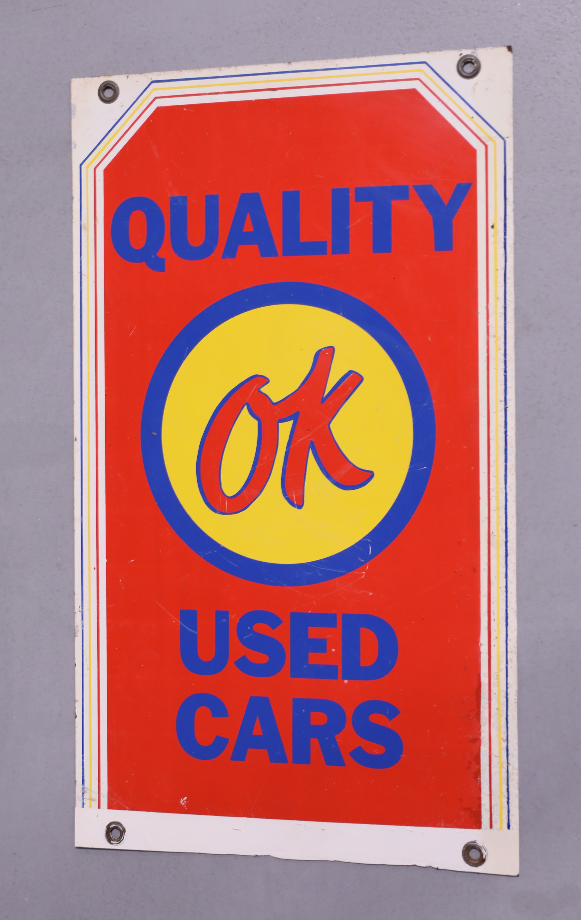 Chevrolet Quality OK Used Cars DSM Metal Sign