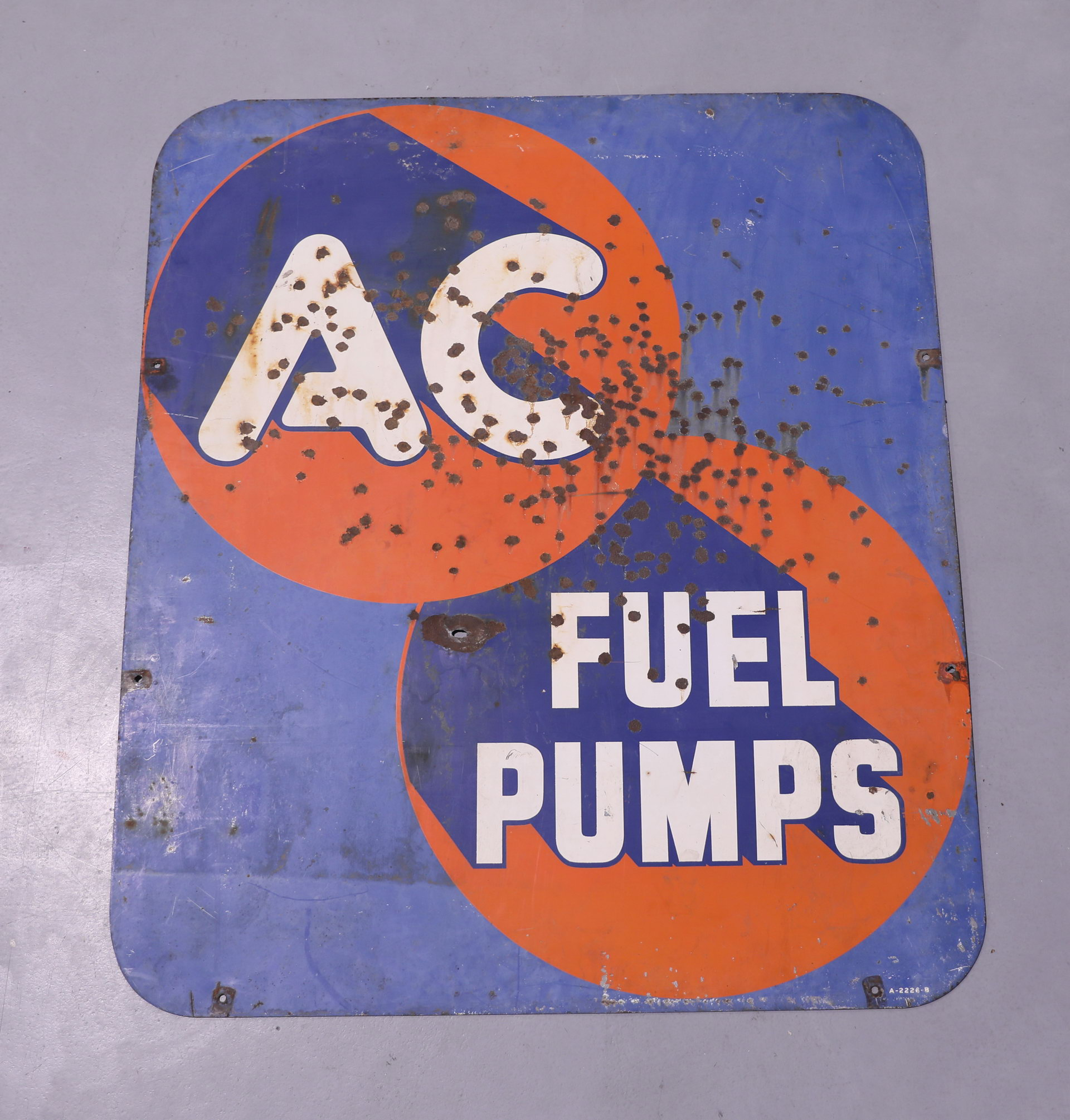 Large Early AC Delco DS Metal Sign
