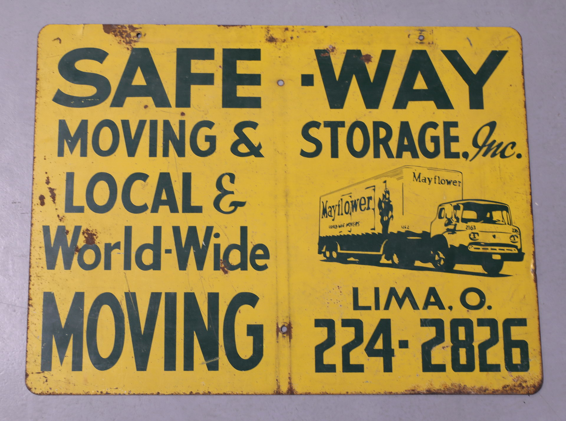SAFE-WAY Semi Truck Moving Lima, OH Sign DS Metal Sign