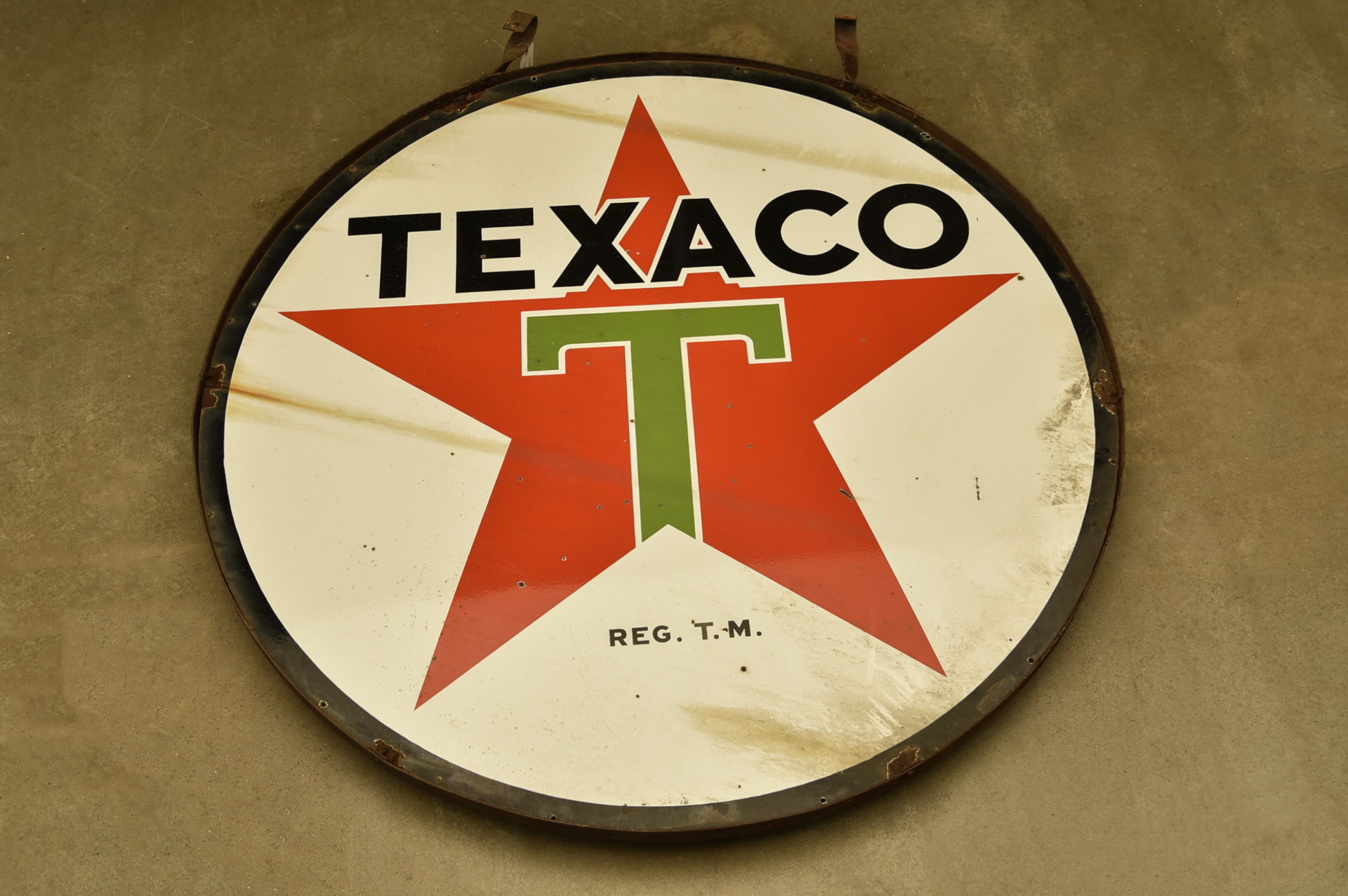 6' TEXACO DSP Porcelain Gas Station Sign in Hanging Frame