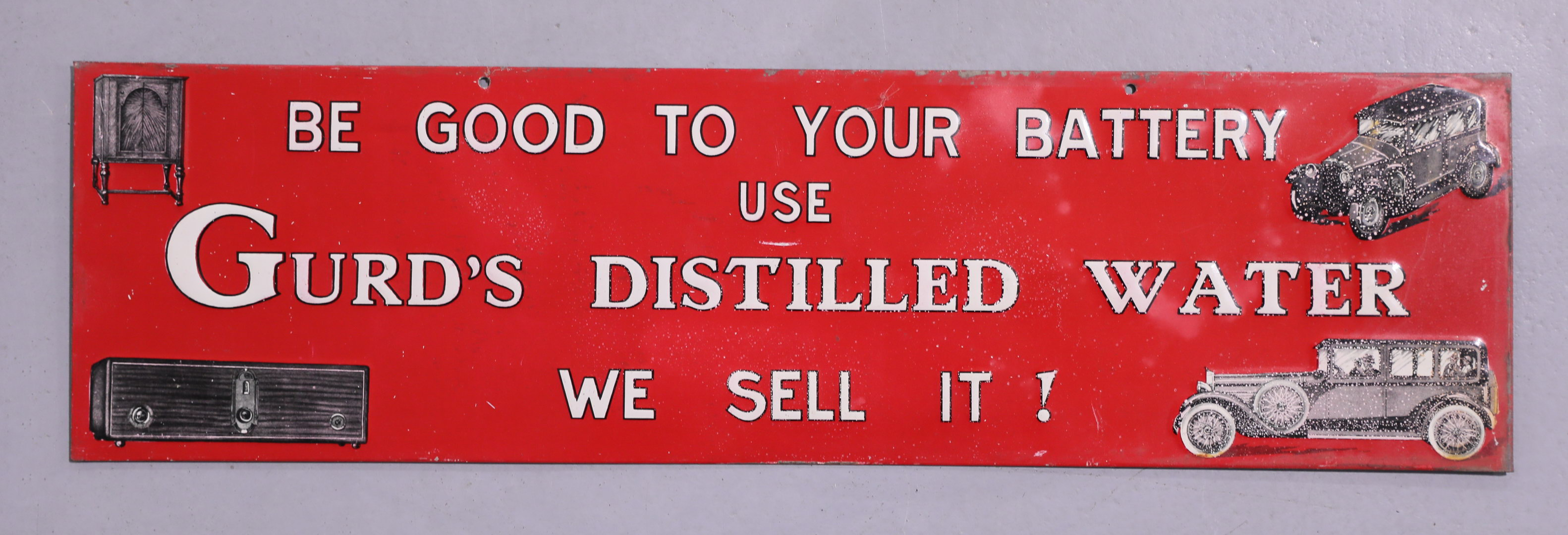 Early GURDS Distilled Water Automobile Battery Tin Tacker Sign