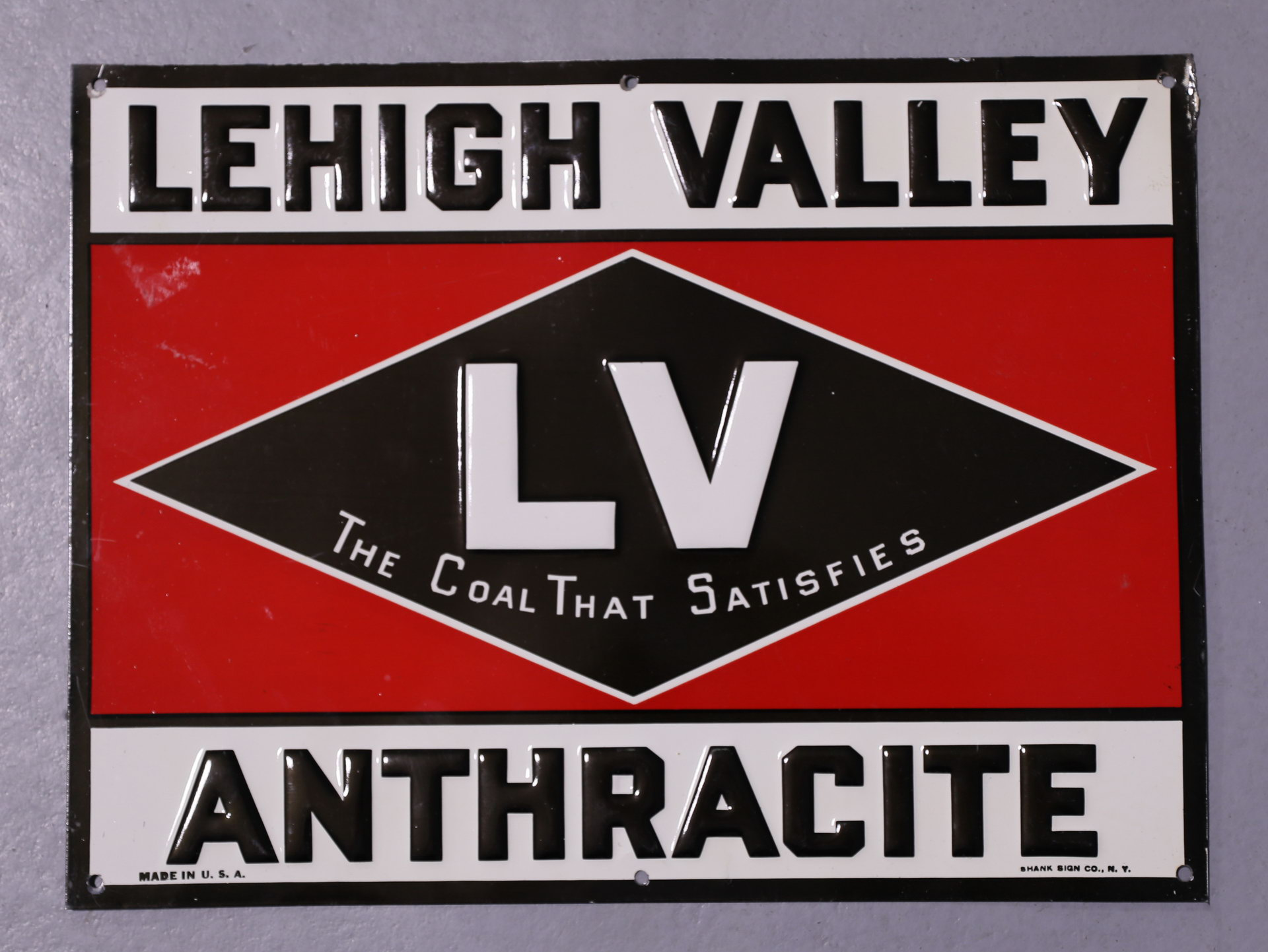 NOS Lehigh Valley Anthracite Coal Embossed Tin Tacker Sign