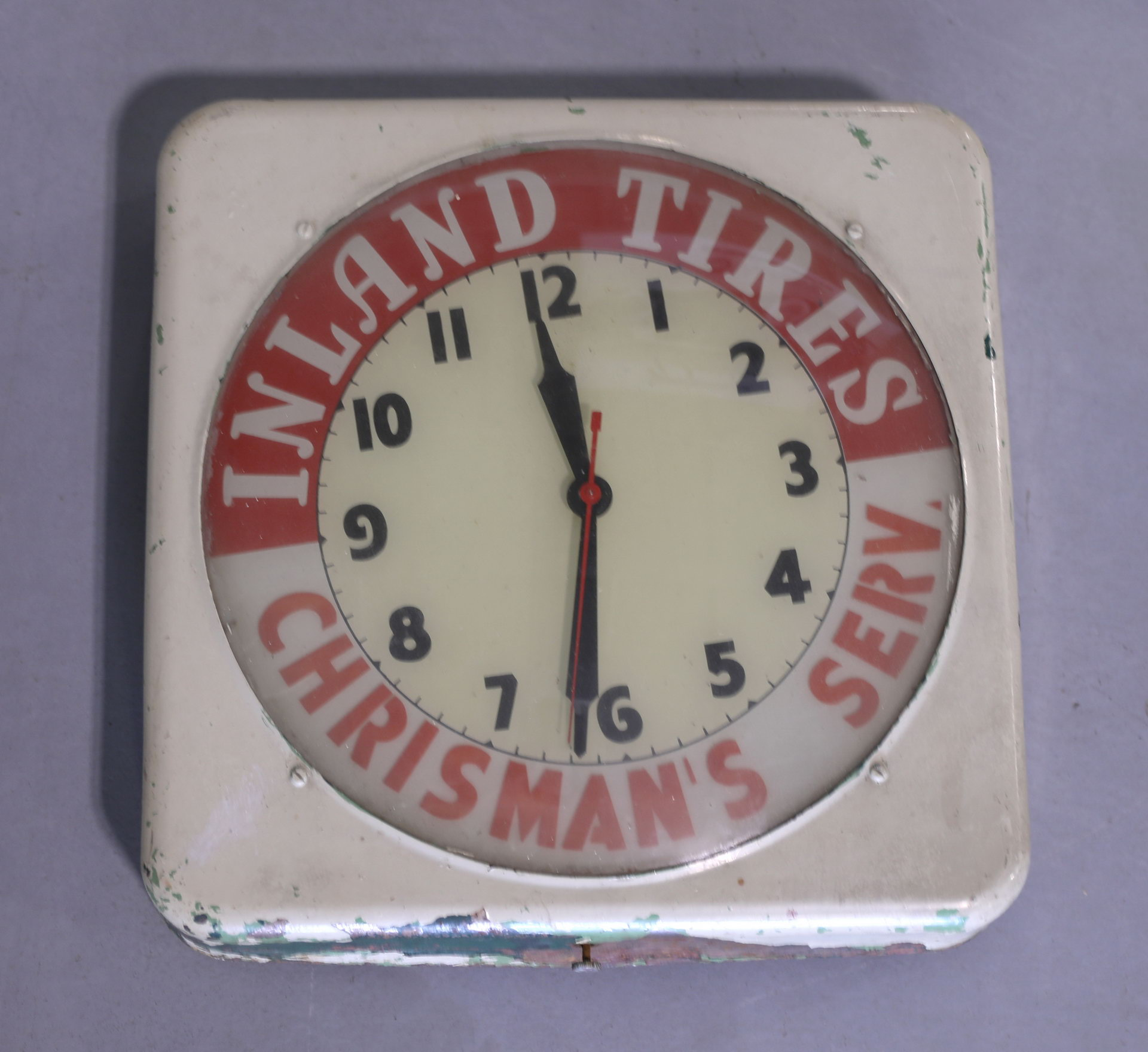 Inland Tires Chrisman's Service Station Advertising Clock
