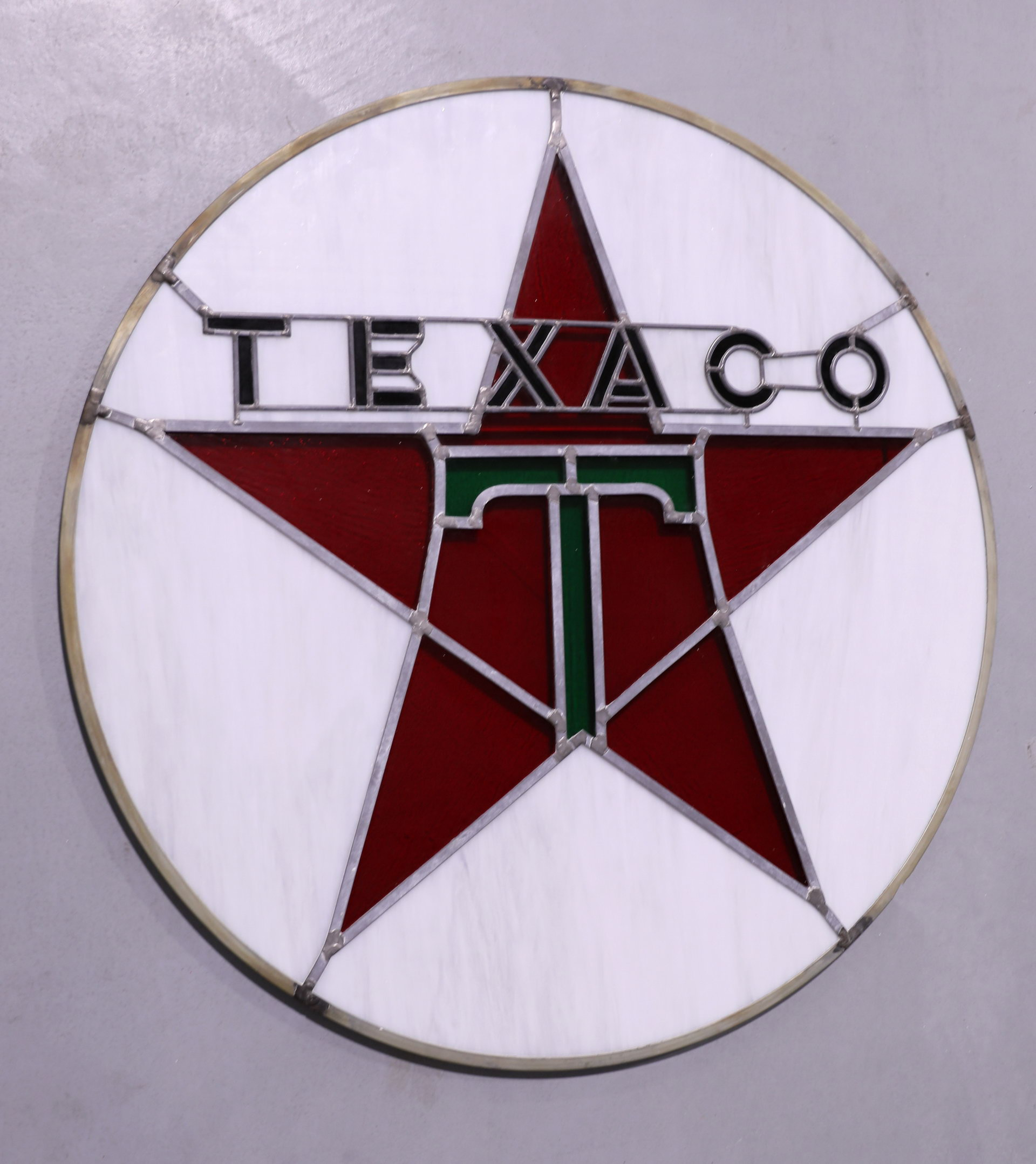 Reproduction Texaco Oil Stained Glass Sign