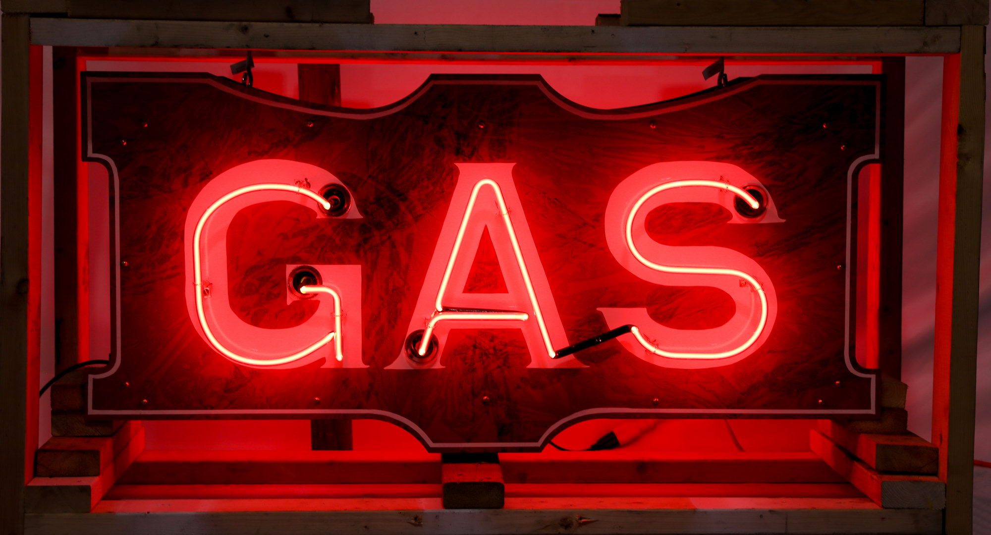 Reproduction GAS Neon Lighted Gas Station Can Sign