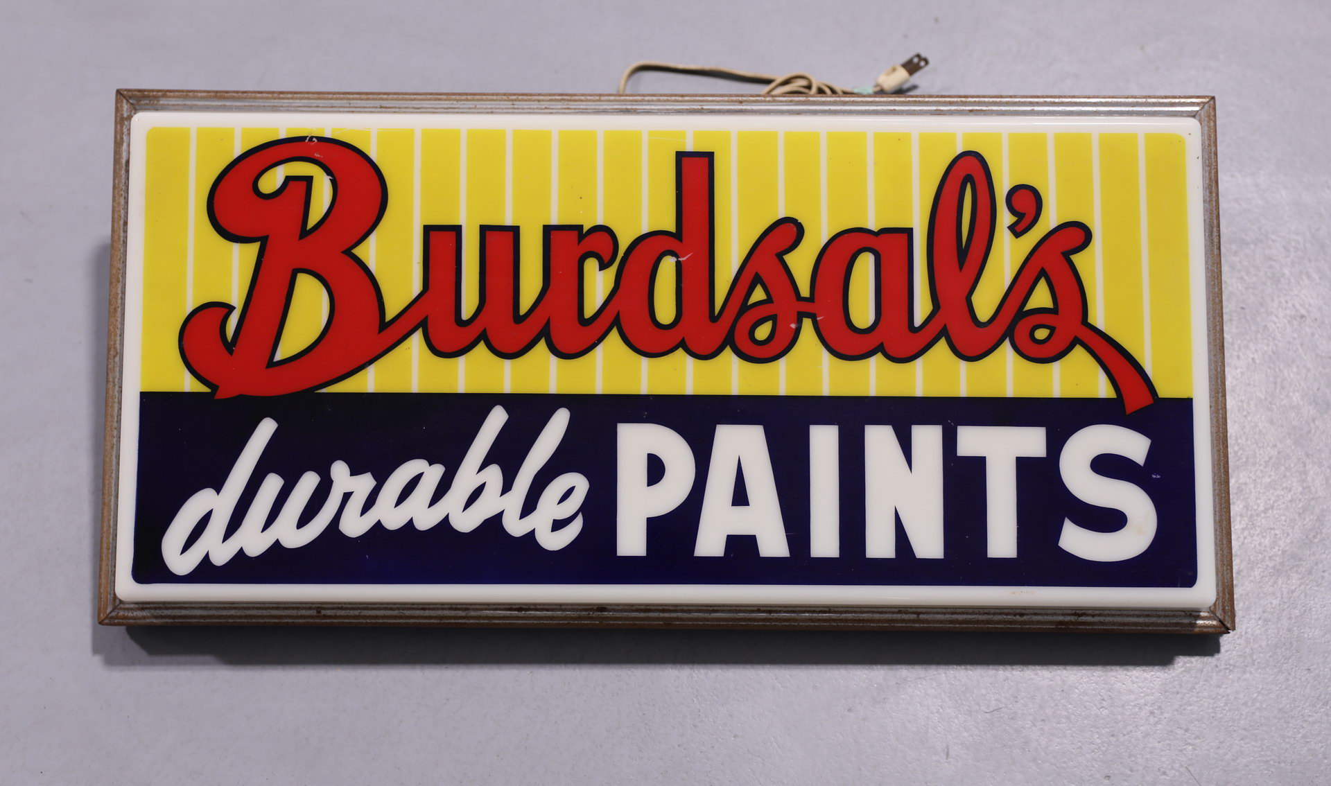 BURDSAL'S Durable Paints Lighted Plastic Front Can Sign