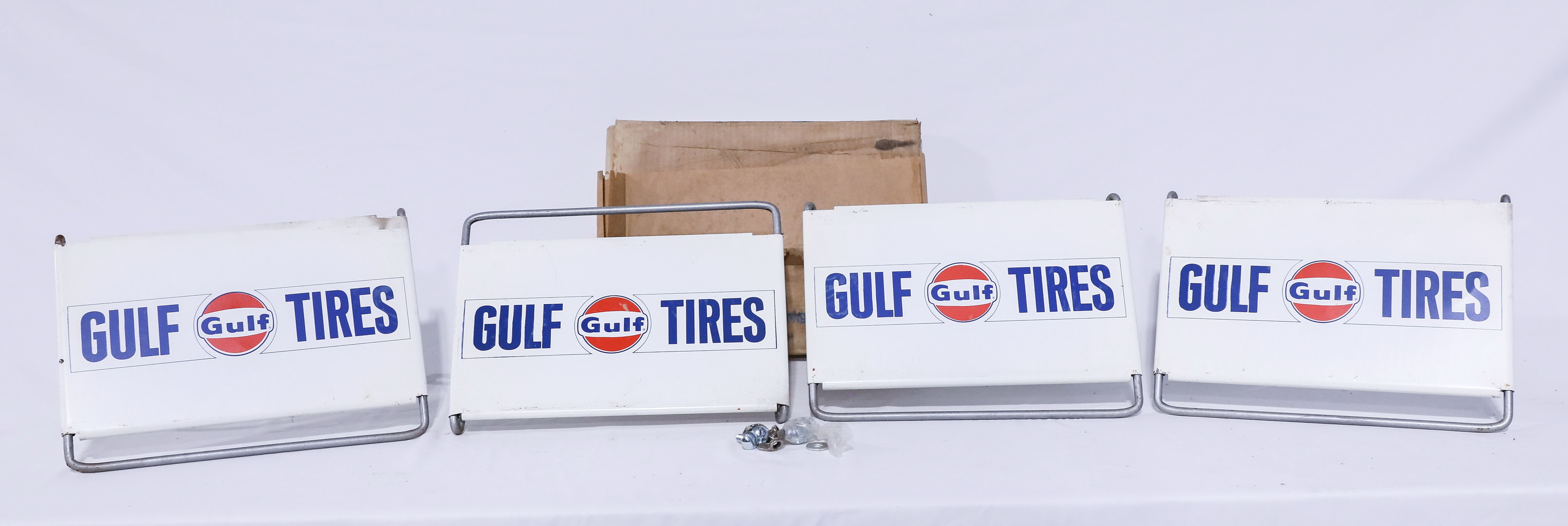Qty 2 NOS Complete GULF Oil Tire Display Rack Signs