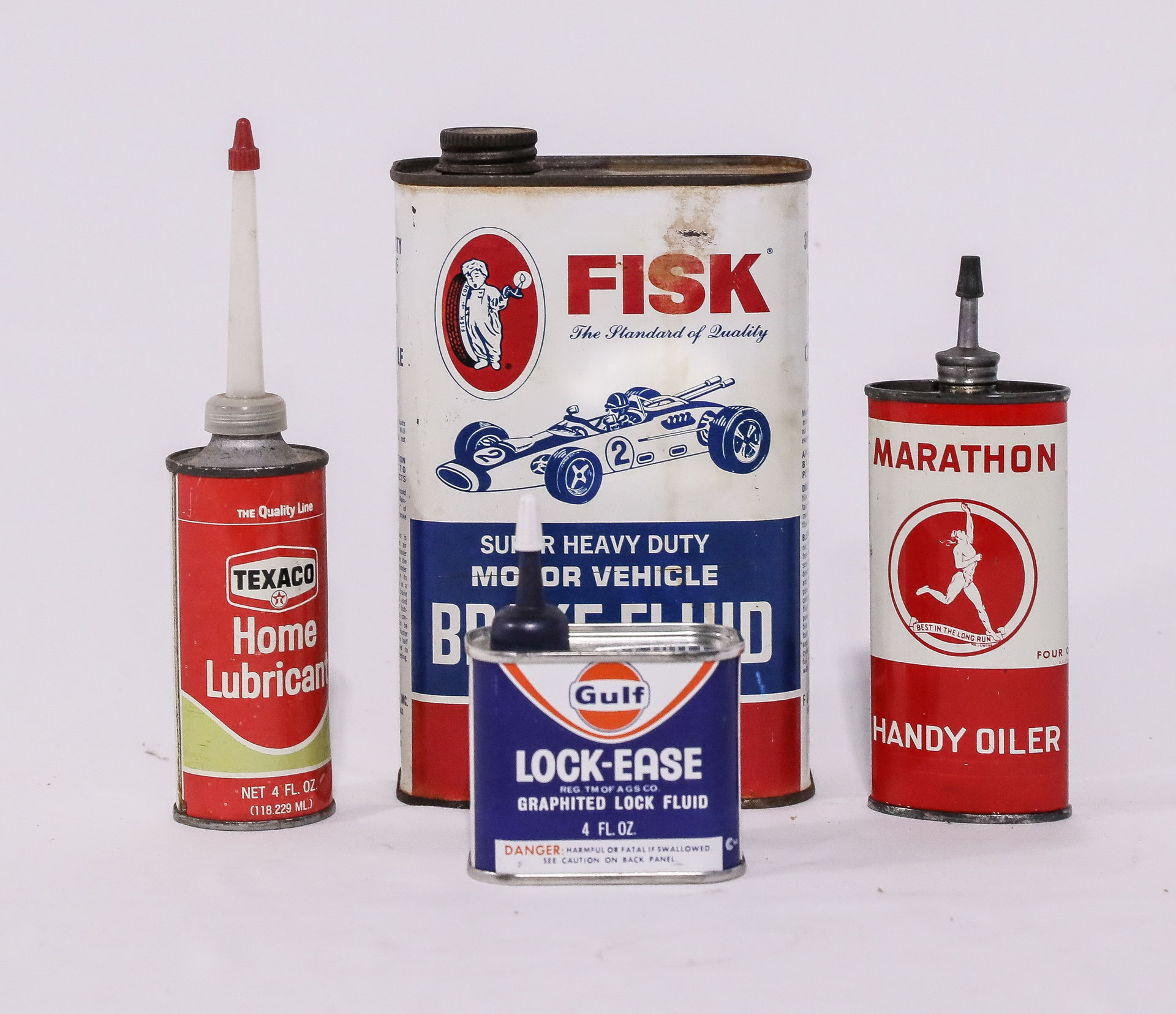 Oil Can Lot of 4: FISK with Indy Race Car : Marathon : Texaco & GULF